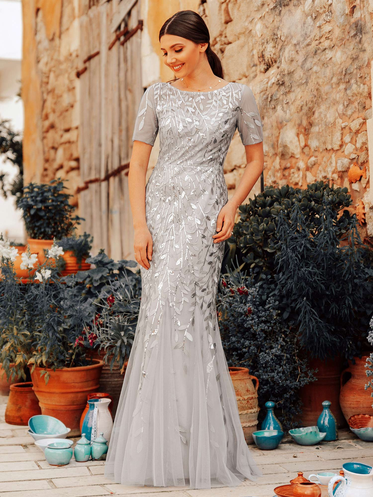 Ever-pretty-Plus-Size-Sequins-Bridesmaid-Dresses-Mermaid-Evening-Party-Prom-Gown thumbnail 43