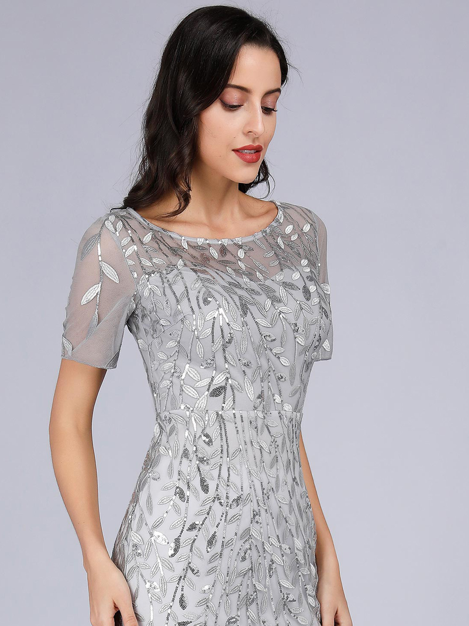 Ever-Pretty-Silver-Bridesmaid-Dresses-Fishtail-Mesh-Applique-Evening-Gown-Maxi miniature 8