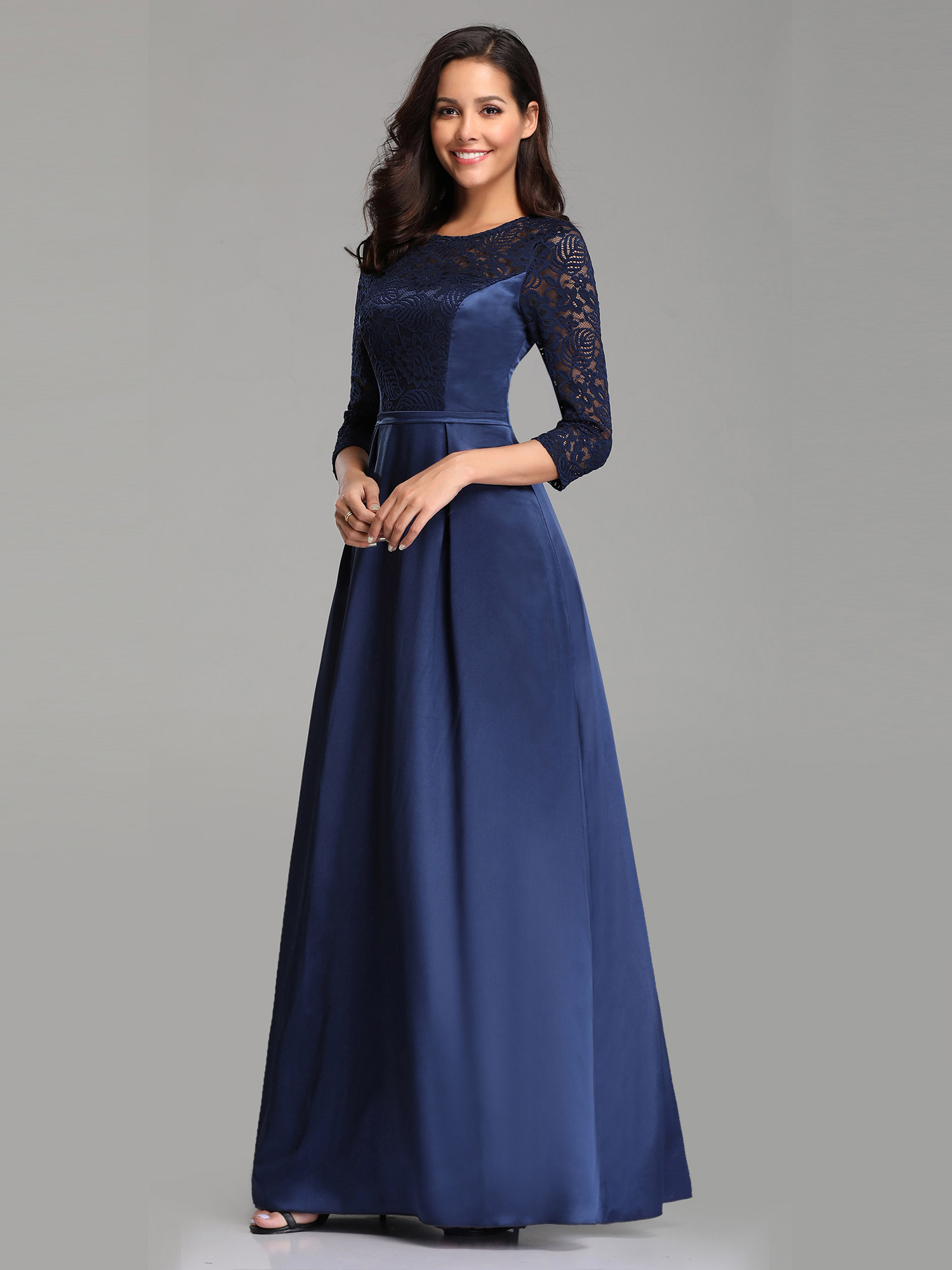 Lace Sleeve Formal Evening Gowns