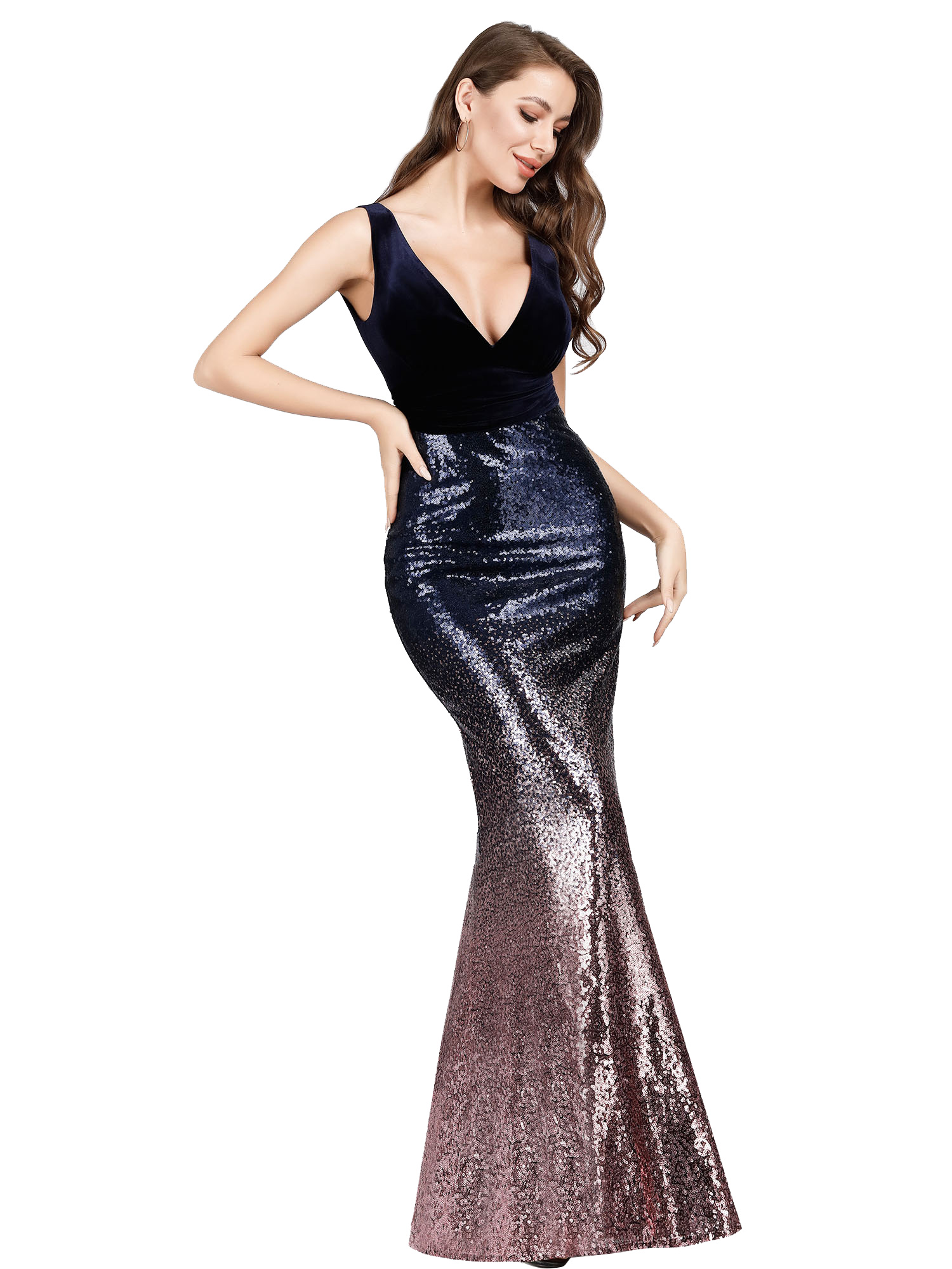 Ever-Pretty-V-neck-Evening-Dress-Long-Sequins-Purple-Mermaid-Bodycon-Gown-07767 thumbnail 4