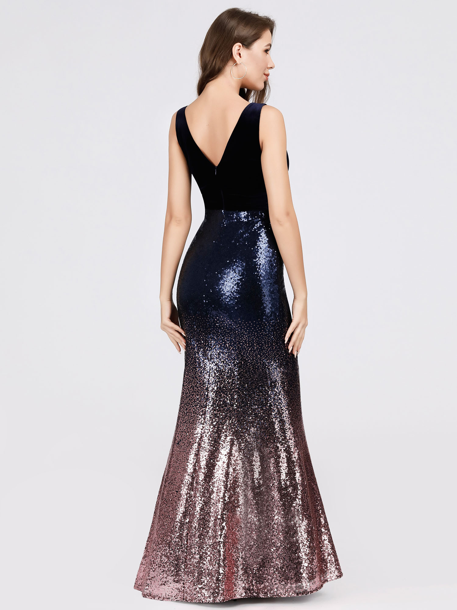 Ever-Pretty-V-neck-Evening-Dress-Long-Sequins-Purple-Mermaid-Bodycon-Gown-07767 thumbnail 5