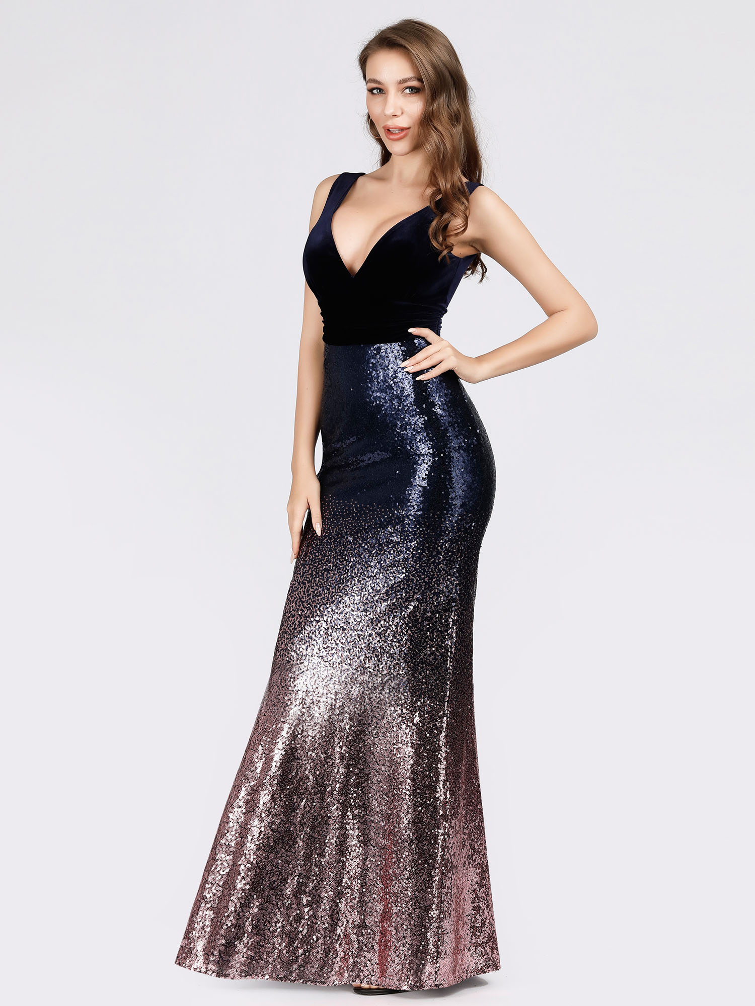 Ever-Pretty-V-neck-Evening-Dress-Long-Sequins-Purple-Mermaid-Bodycon-Gown-07767 thumbnail 6