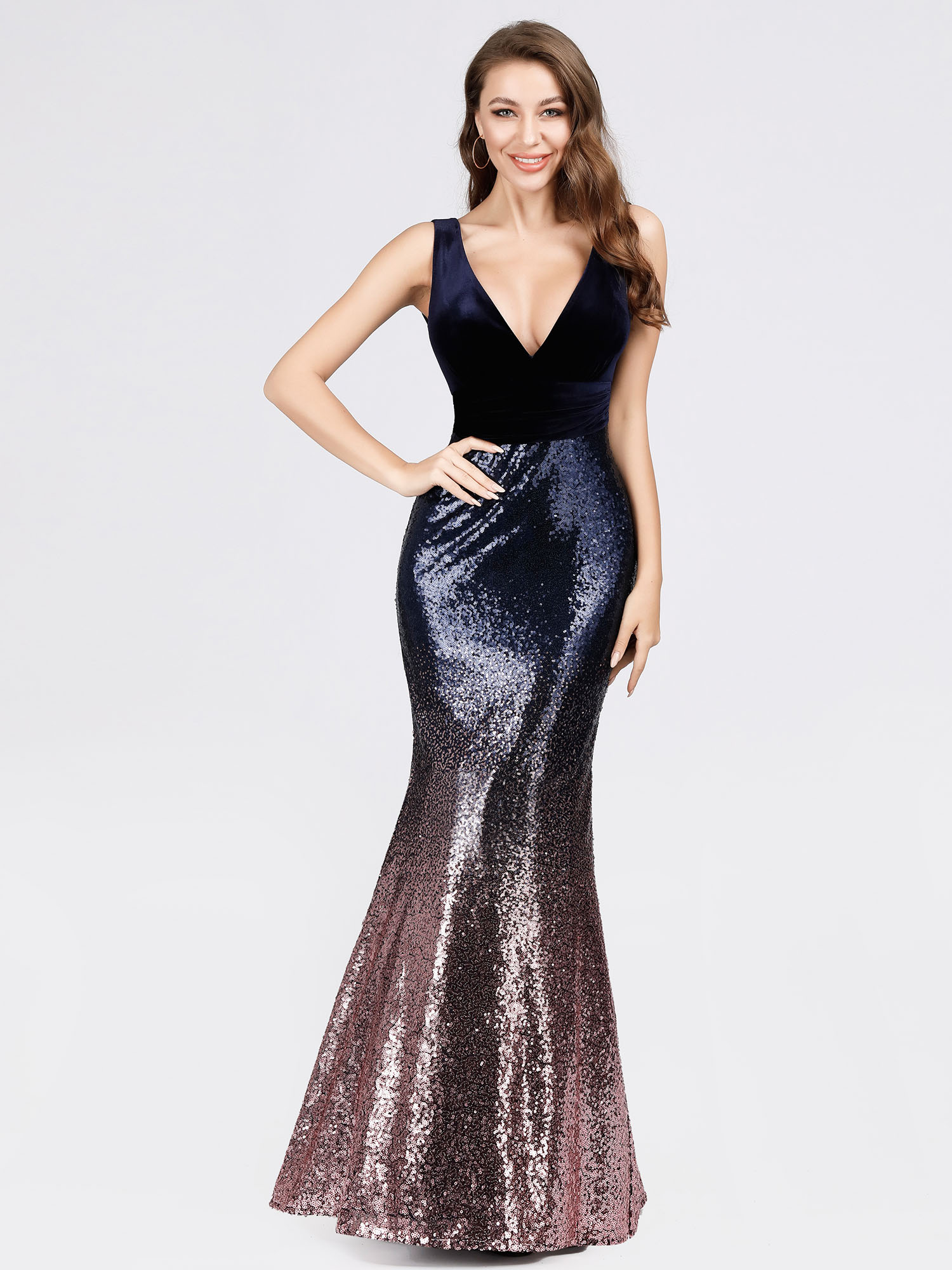 Ever-Pretty-V-neck-Evening-Dress-Long-Sequins-Purple-Mermaid-Bodycon-Gown-07767 thumbnail 7