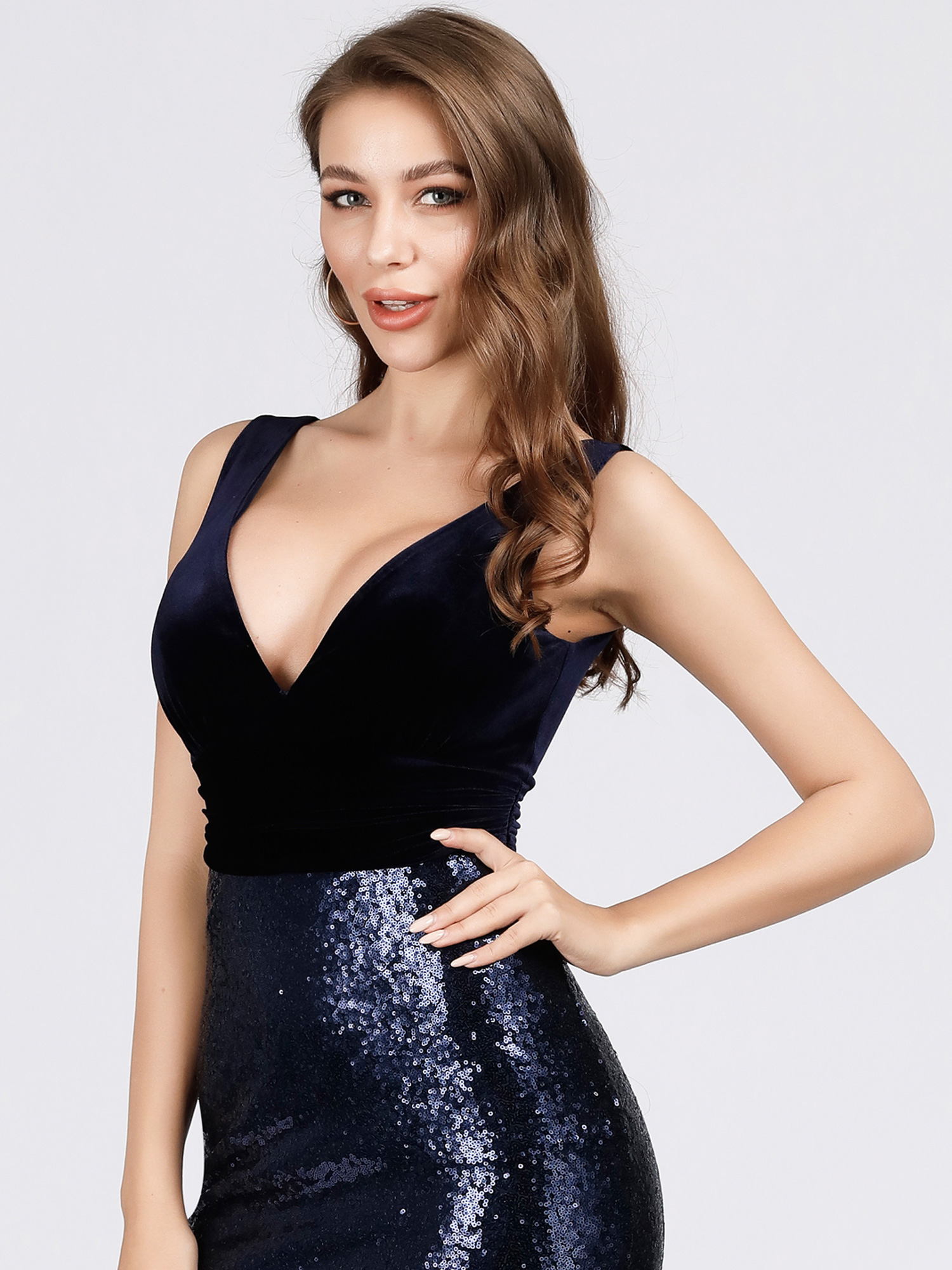 Ever-Pretty-V-neck-Evening-Dress-Long-Sequins-Purple-Mermaid-Bodycon-Gown-07767 thumbnail 8