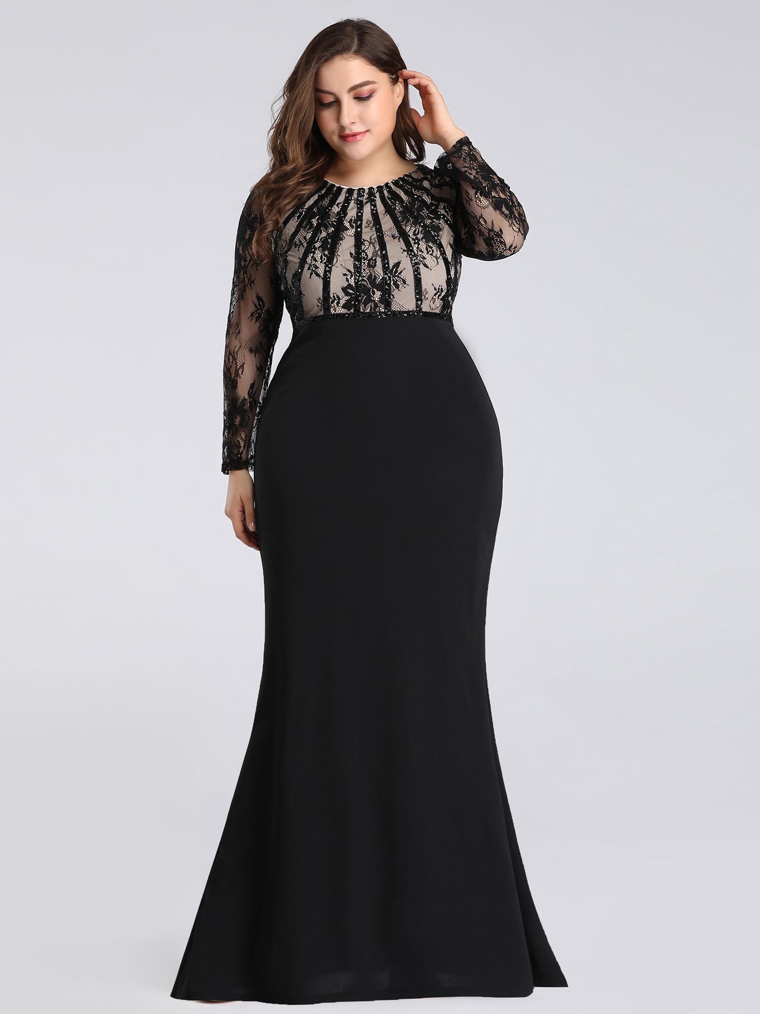Details about Ever-Pretty Plus Size Black Lace Long Sleeve Bodycon Evening  Long Dresses 07771