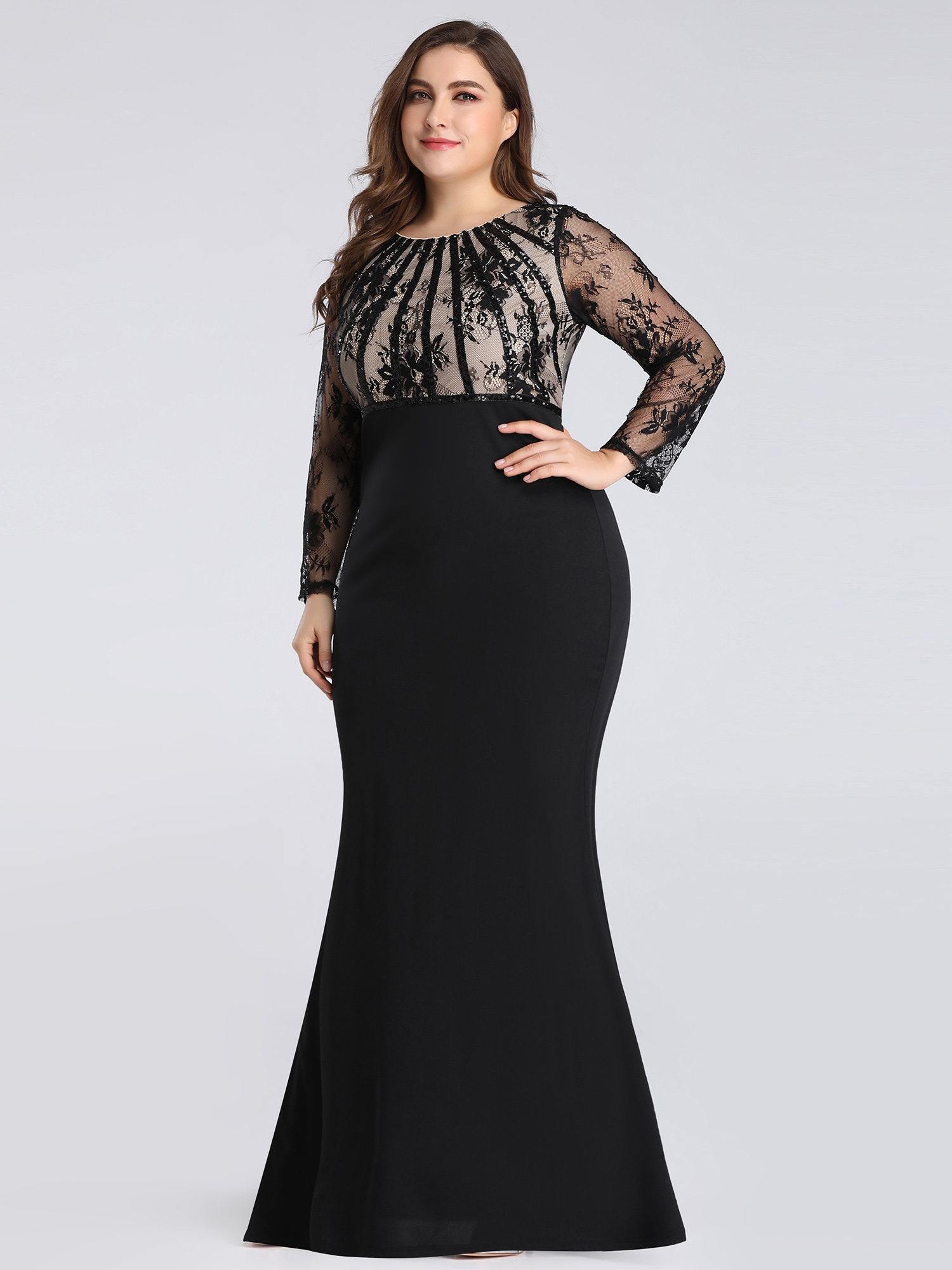 Details about Ever-pretty US Plus Size Long Sleeve Formal Evening Gowns  Mother Of Bride Dress