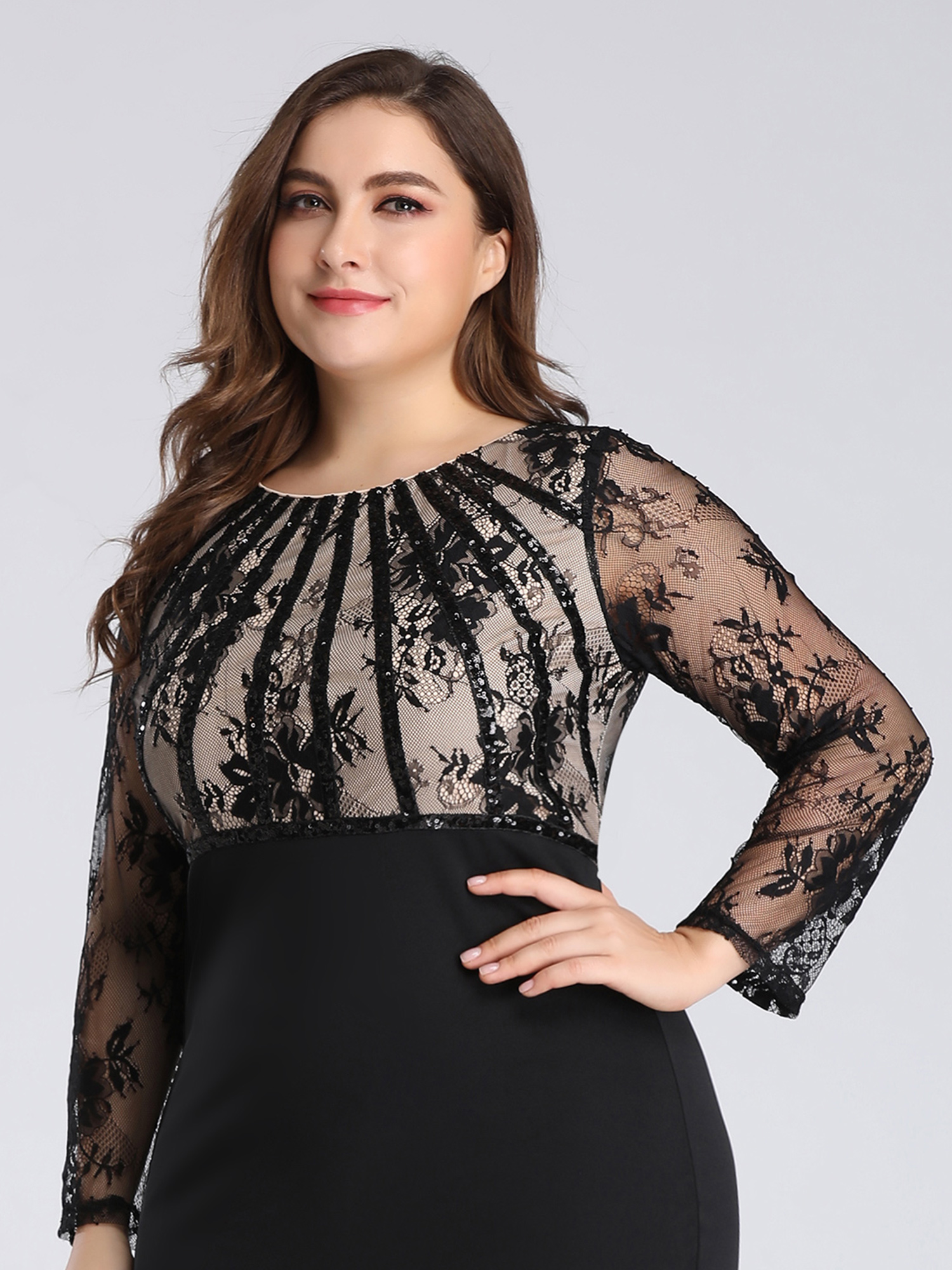 Ever-Pretty-US-Plus-Size-Long-Sleeve-Mermaid-Evening-Long-Dress-Prom-Gowns-07771 thumbnail 7