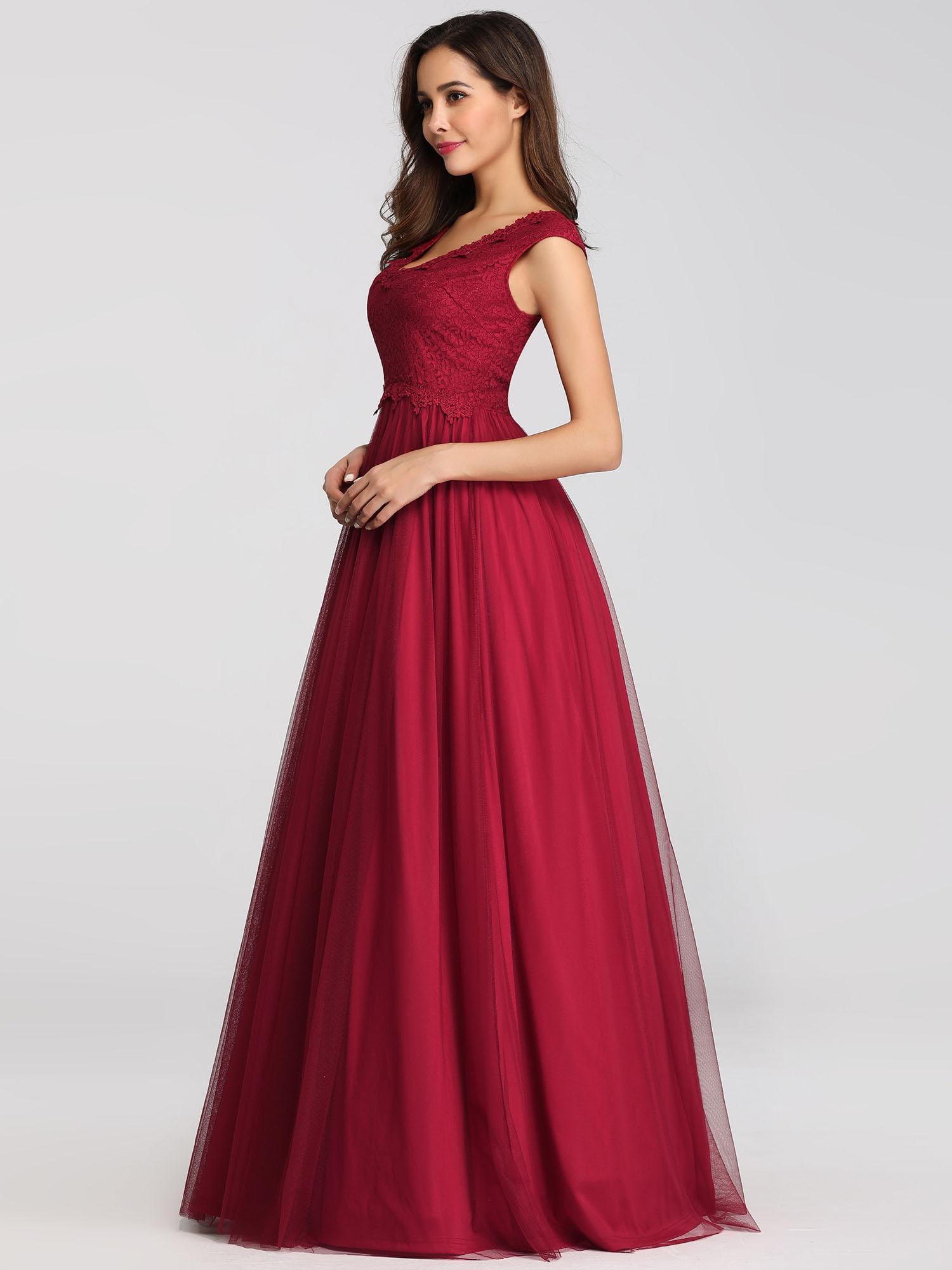 Ever-Pretty A-Line Burgundy Bridesmaid Dress Long V-neck ...
