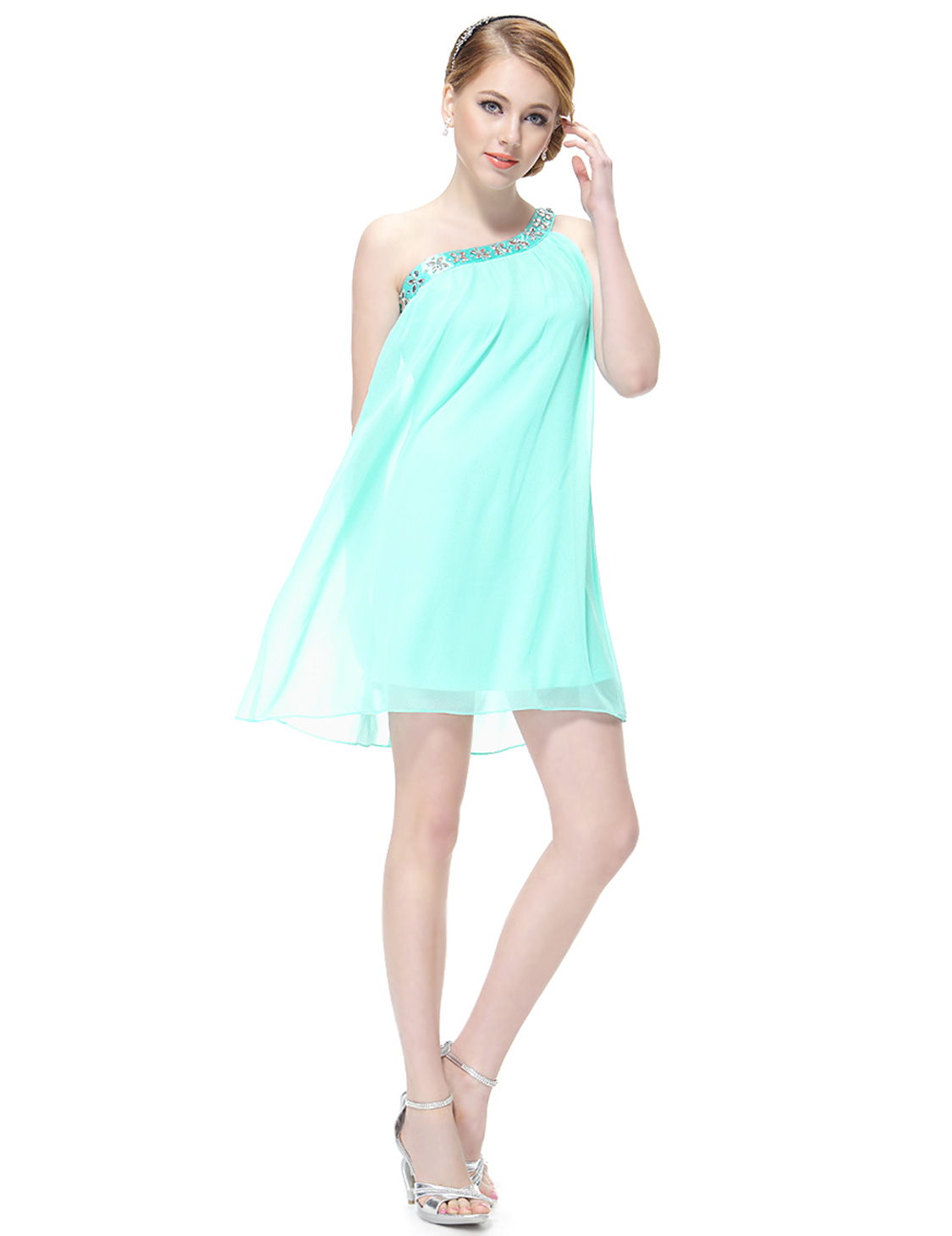 One Shoulder Short Casual Cocktail Party Summer Ladies
