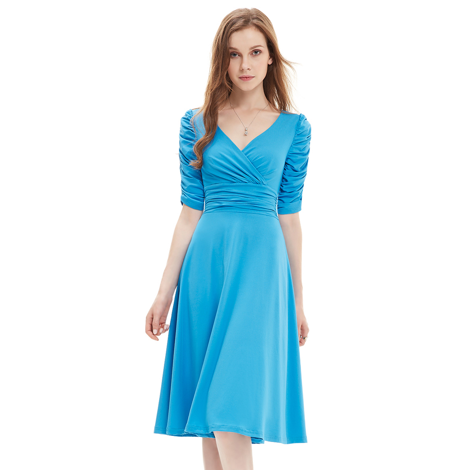 Ever-Pretty Short Sleeve Cocktail Dress Knee Length Casual Prom ...