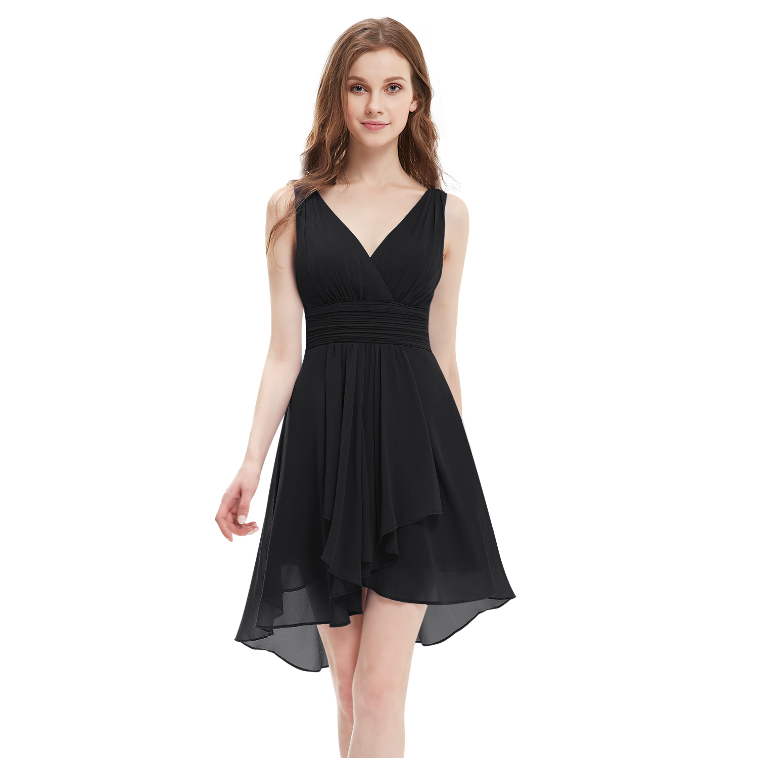 V Neck Short Chiffon Homecoming Prom Dress Formal Cocktail