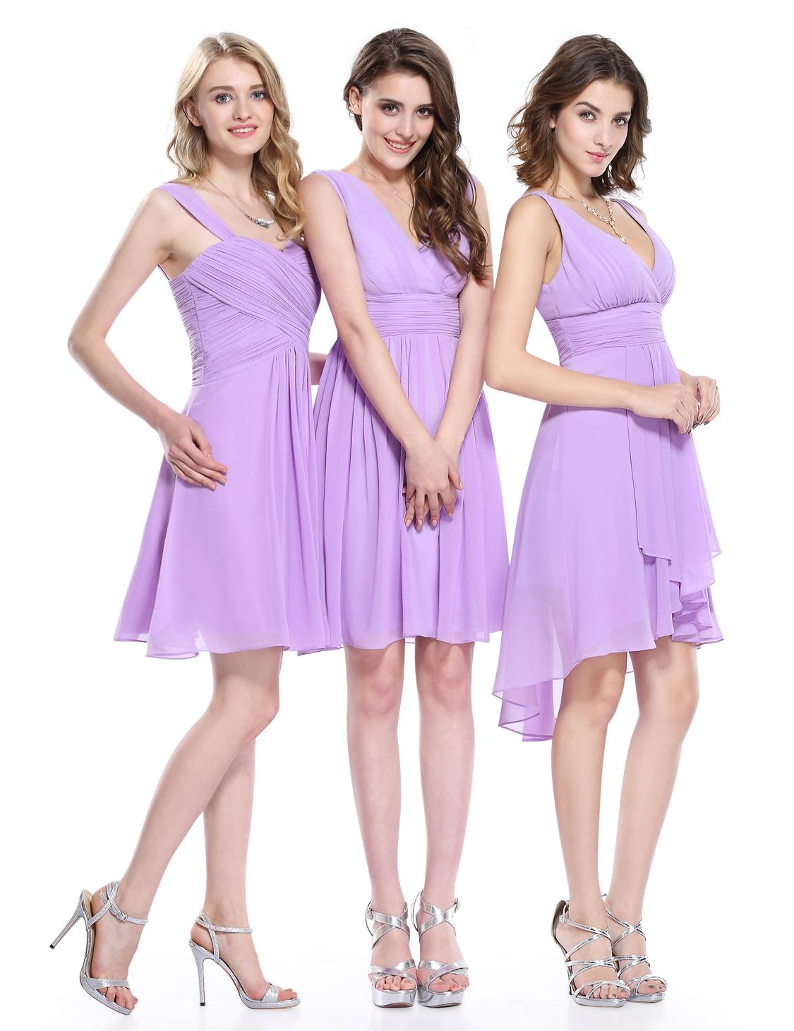 Ever-Pretty Bridesmaid Dresses Short V Neck Chiffon Party Prom Ball ...