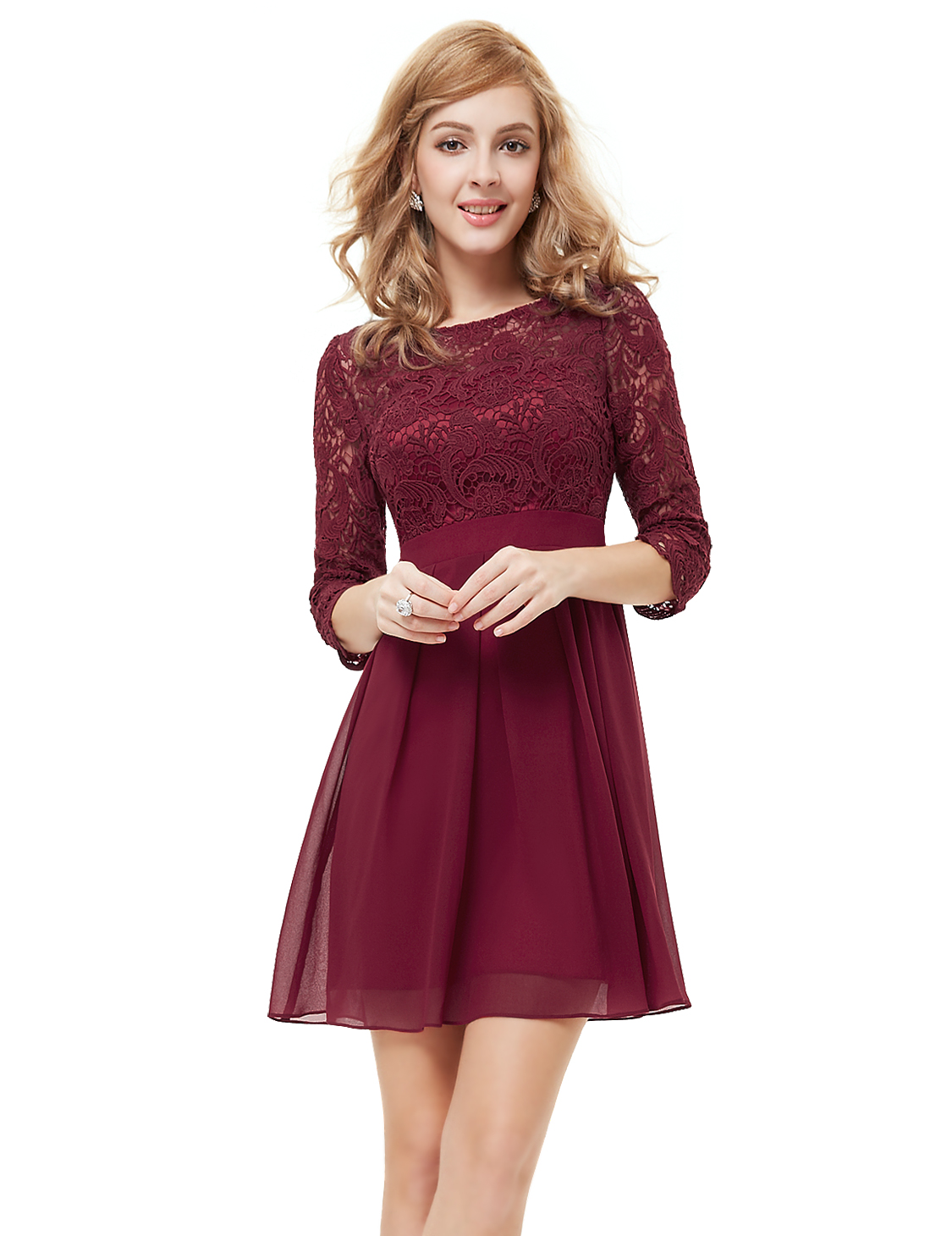 womens elegant lace 34 sleeve short cocktail party