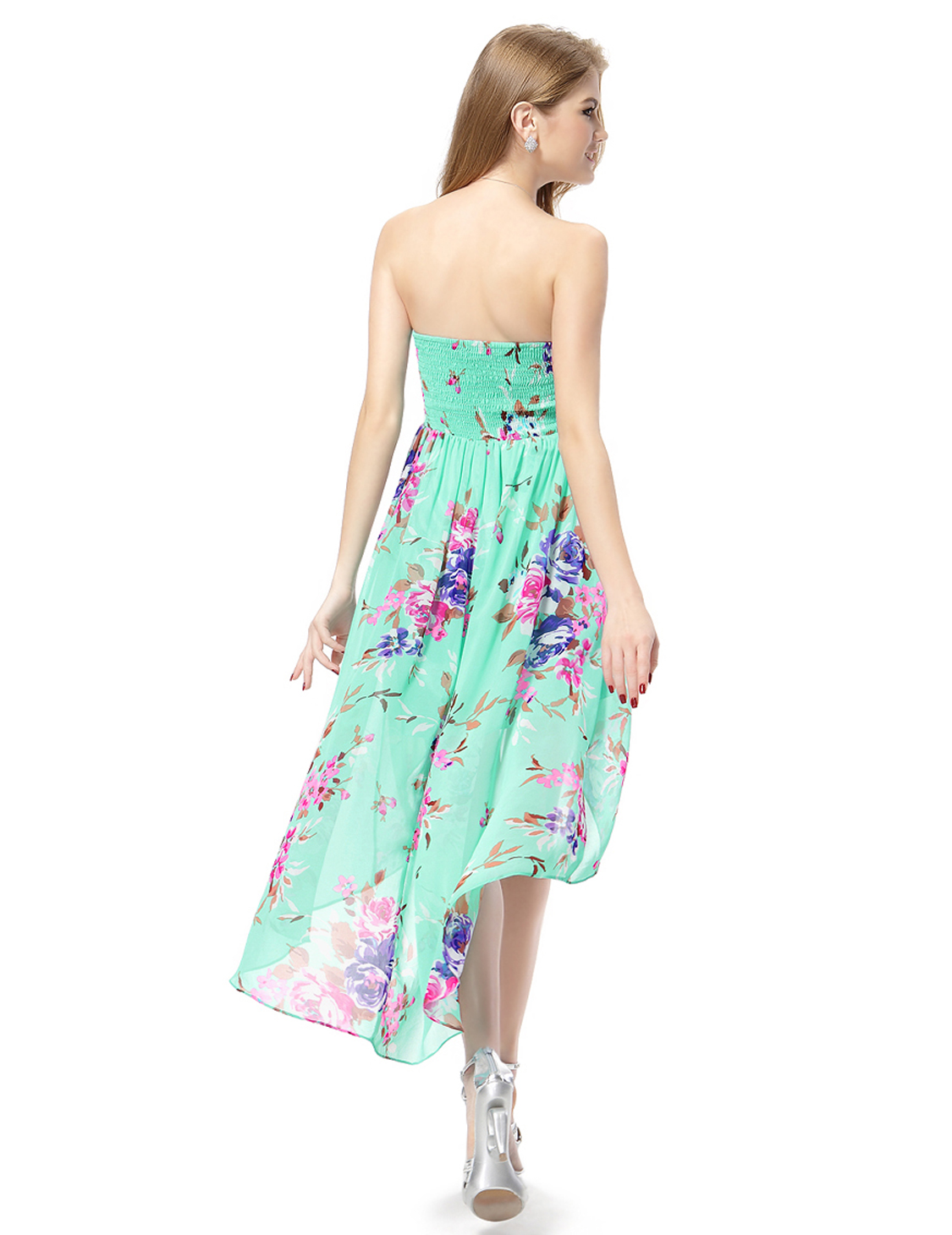 Women's High-low Strapless Floral Summer Beach Holiday ...