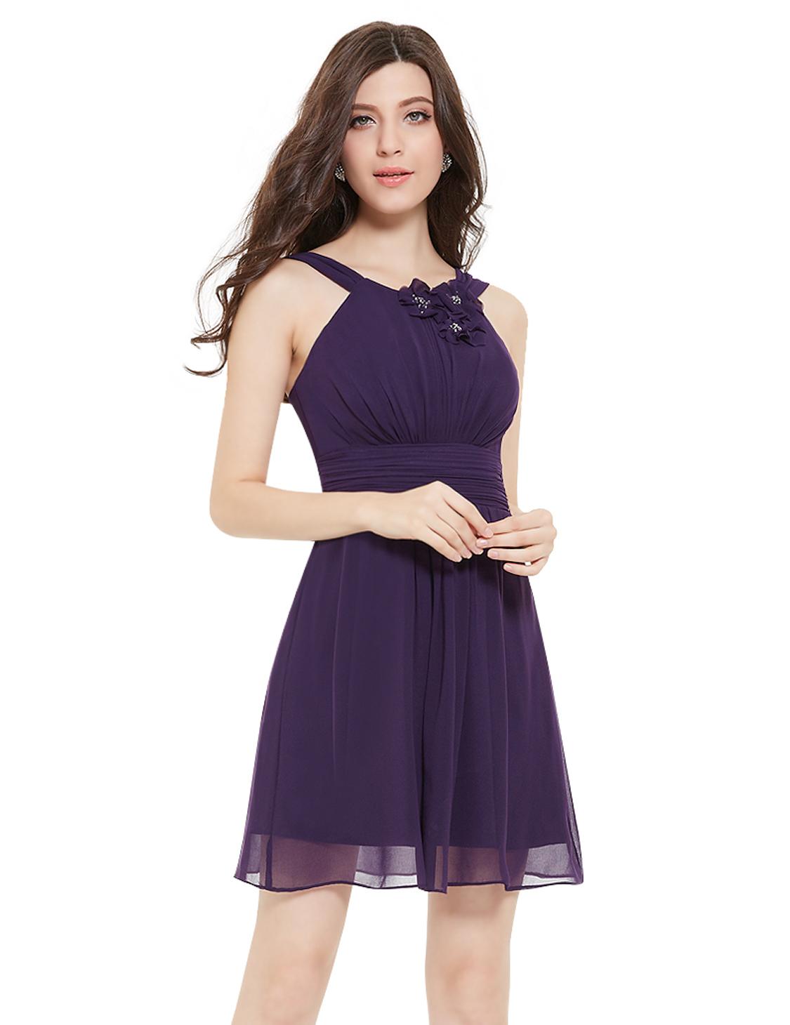 Ever Pretty Purple Sleeveless Short Bridesmaid Party