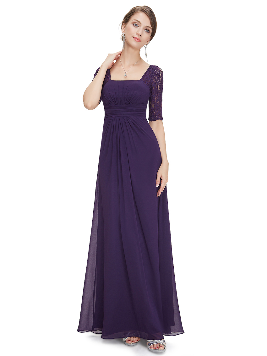 US Women's Sexy Half Sleeve Fashion Lace Long Prom Evening ...