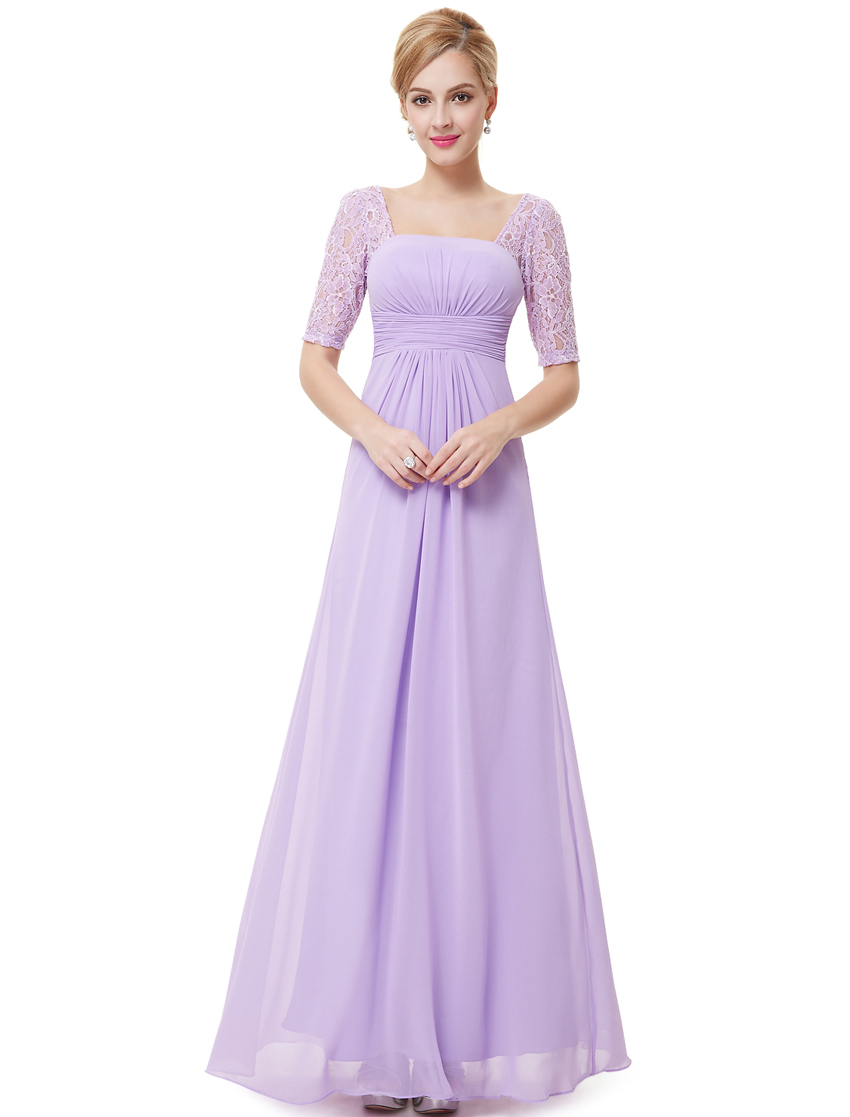 Ever-Pretty Lace Long Wedding Gown Short Sleeve Party Bridesmaid ...