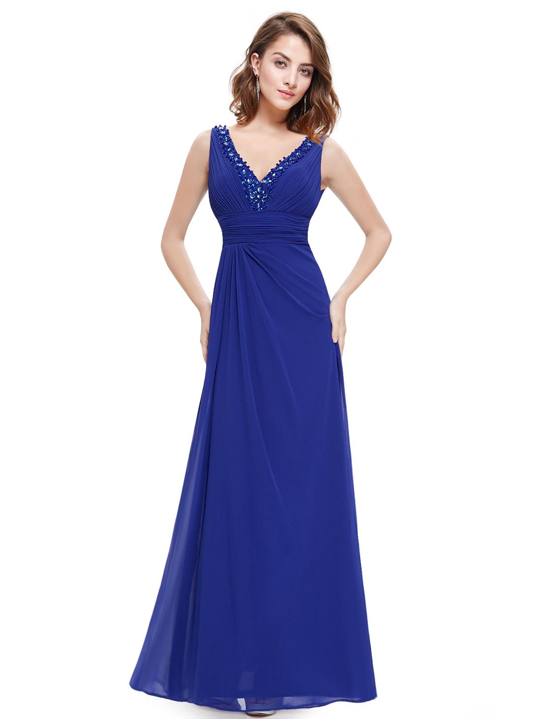 Ever Pretty V Neck Bridesmaid Purple Evening Dress Maxi