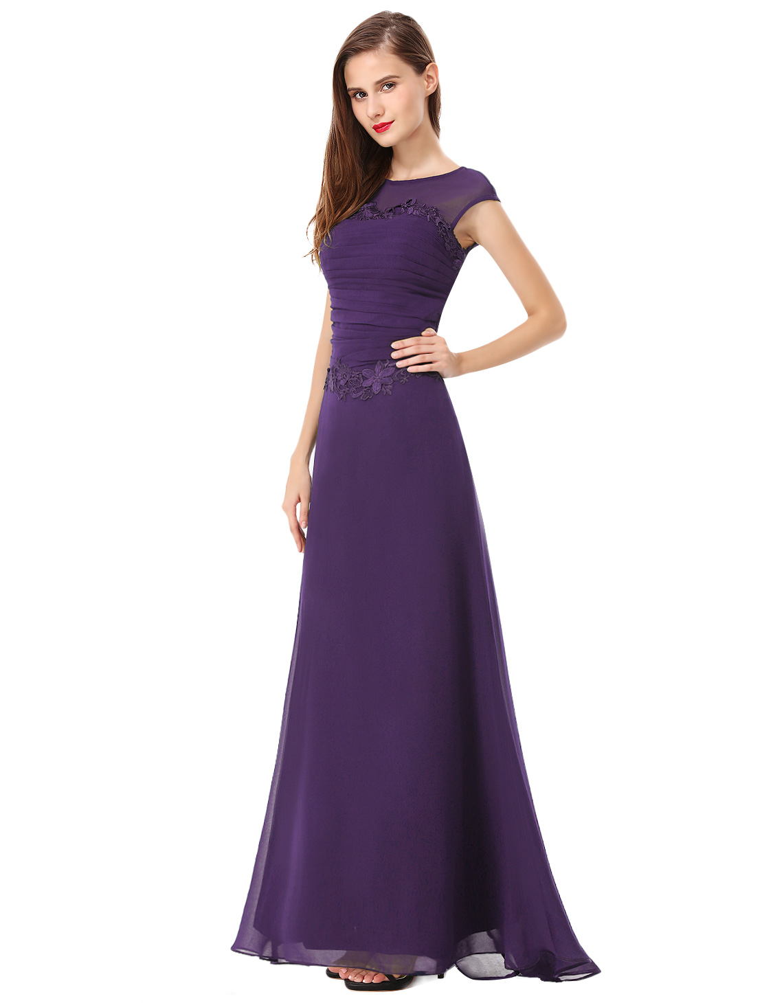 Ever Pretty Women s Trailing Purple Long Bridesmaid Party