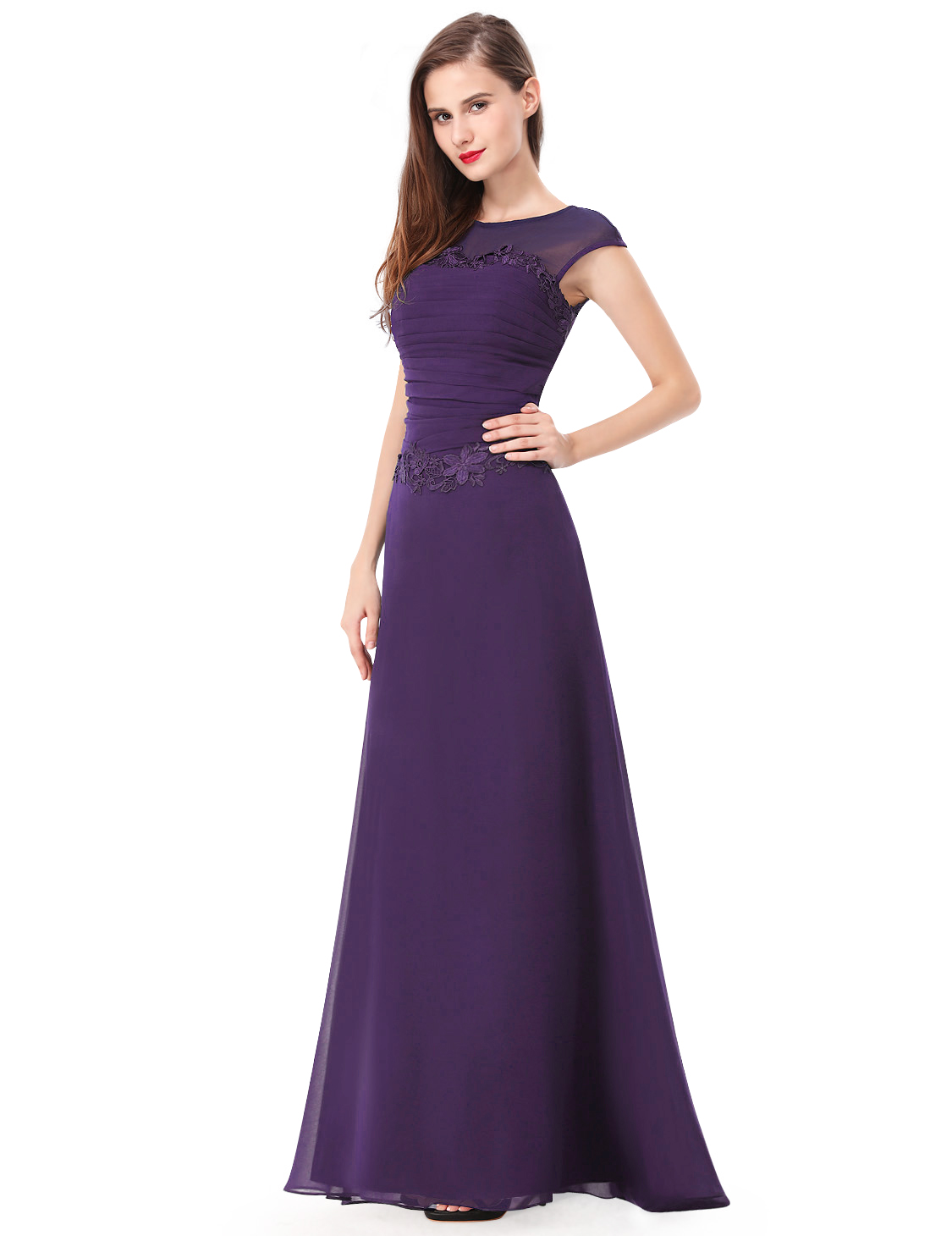 Ever Pretty Purple Long Bridesmaid Evening Party Prom Gown