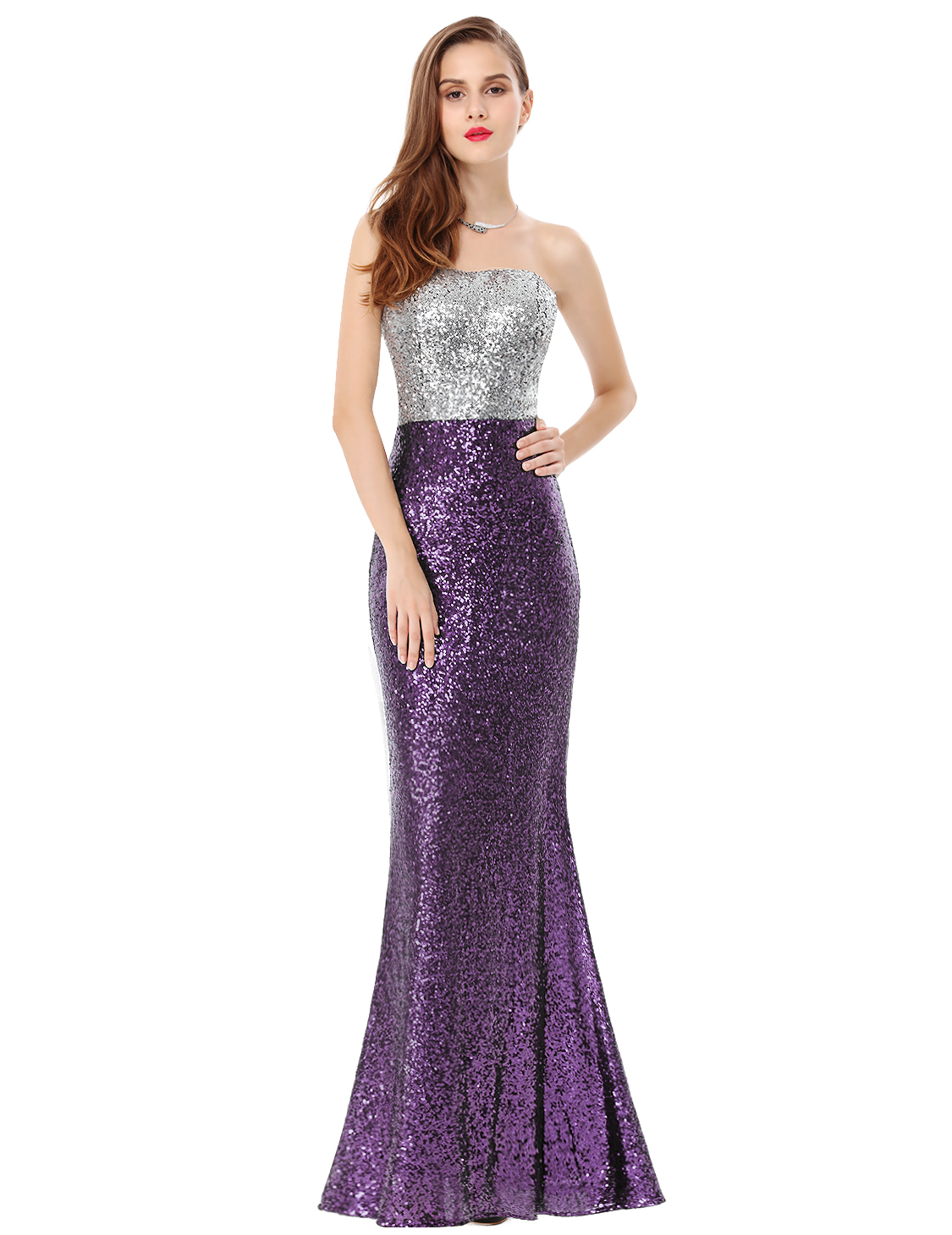 US Women\'s Strapless Sequins Formal Evening Party Dress Cocktail ...
