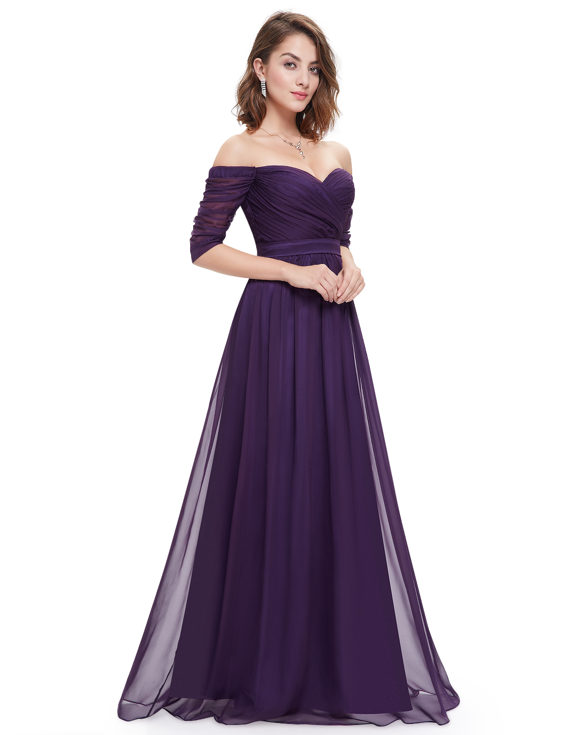 Ever pretty chiffon evening formal long sleeve ball gown for Ever pretty wedding dresses