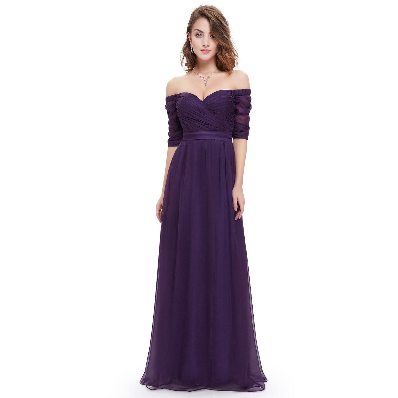 Purple off Shoulder Long Bridesmaid Dresses Party Prom Dress ...