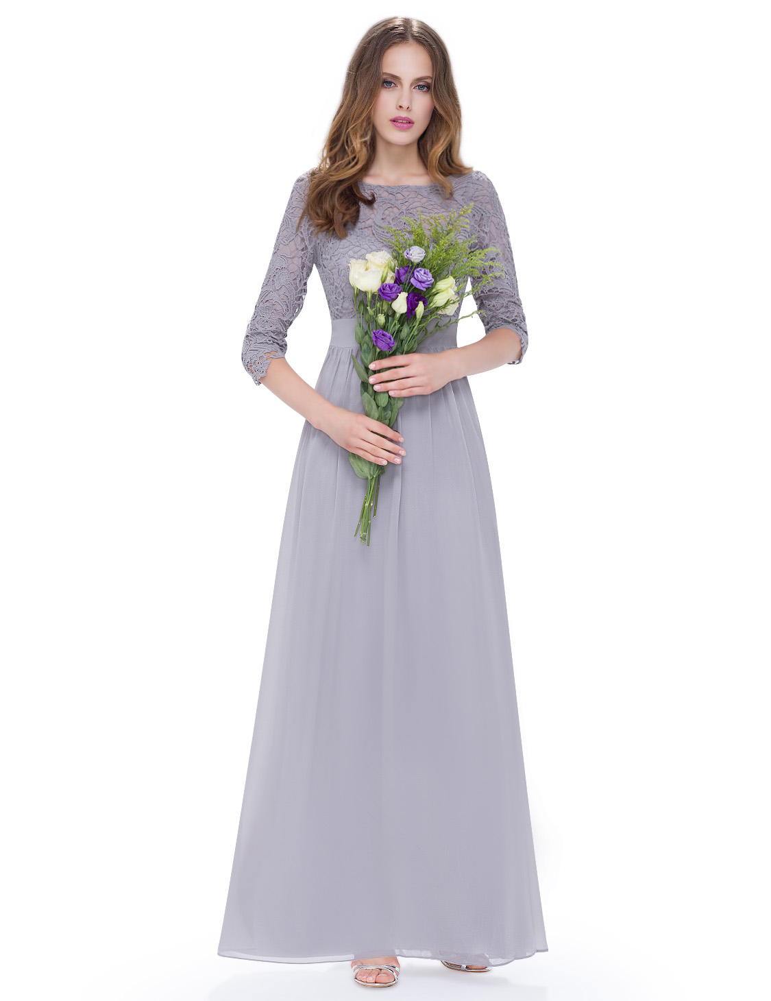 Womens 3 4 sleeves lace bridesmaid dresses evening prom for Ever pretty wedding dresses