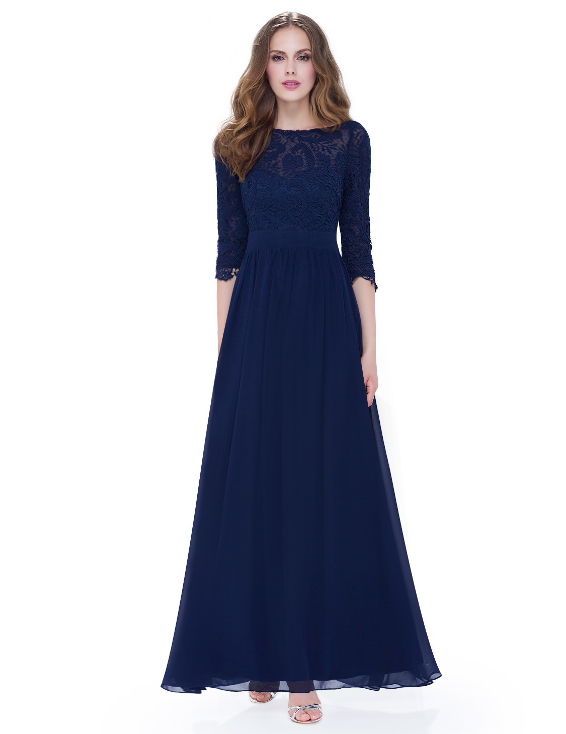 Womens 3/4 Sleeves Lace Bridesmaid Dresses Evening Prom ...