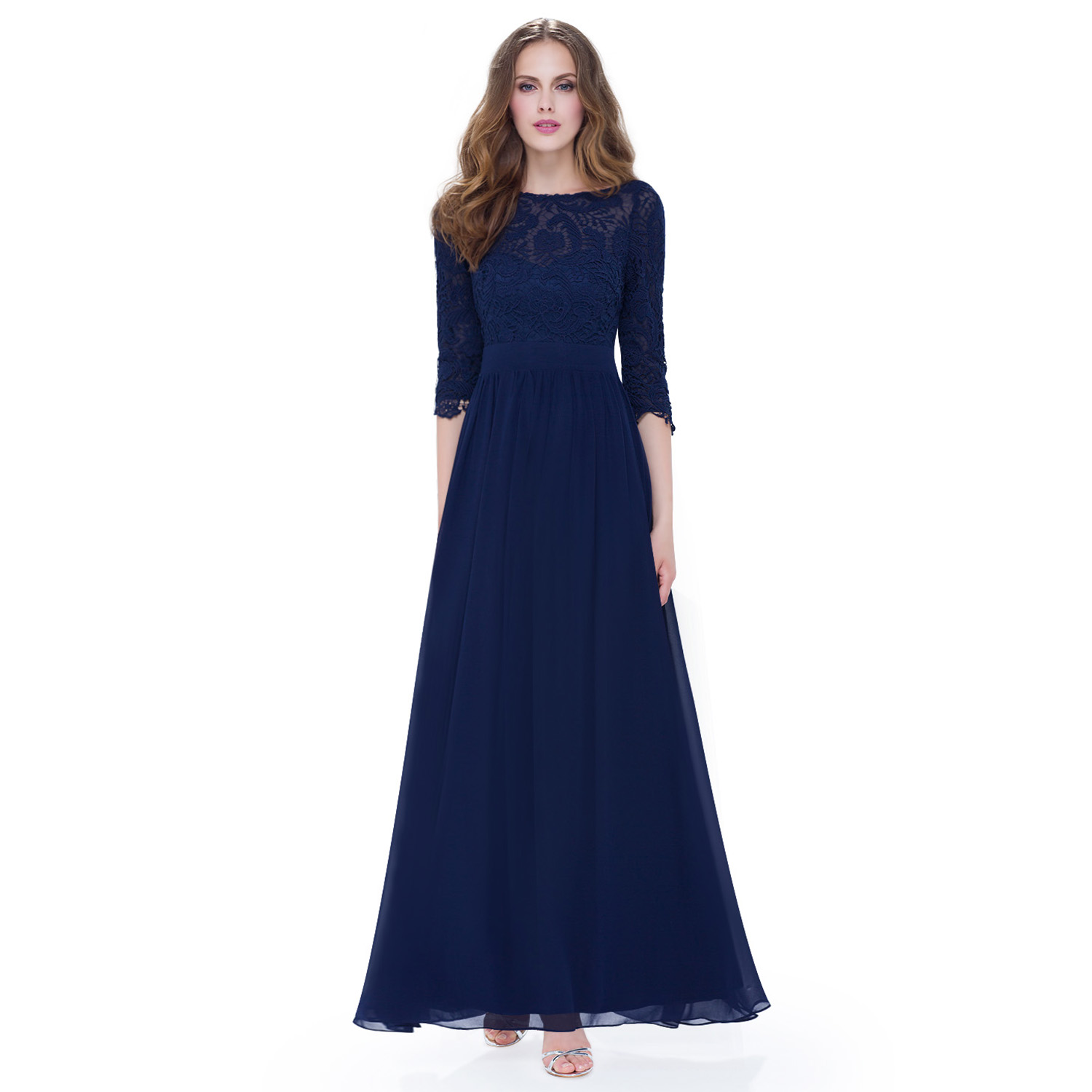 Womens 3/4 Sleeves Lace Bridesmaid Dresses Evening Prom Gown 08412 ...