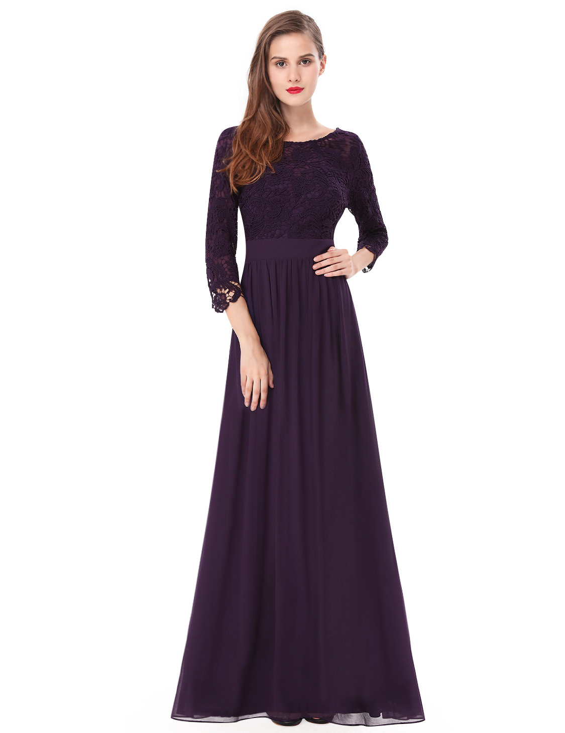 Ever-Pretty Lace Sleeve Evening Gown Long Bridemaid Dresses Black ...