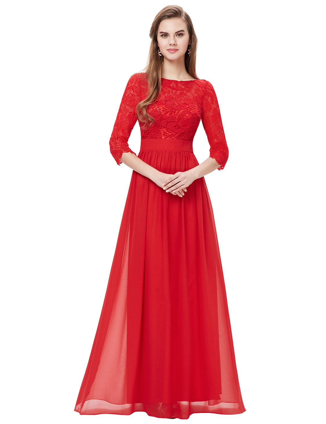 Womens 3 4 sleeves lace bridesmaid dresses evening prom for Wedding dresses for womens