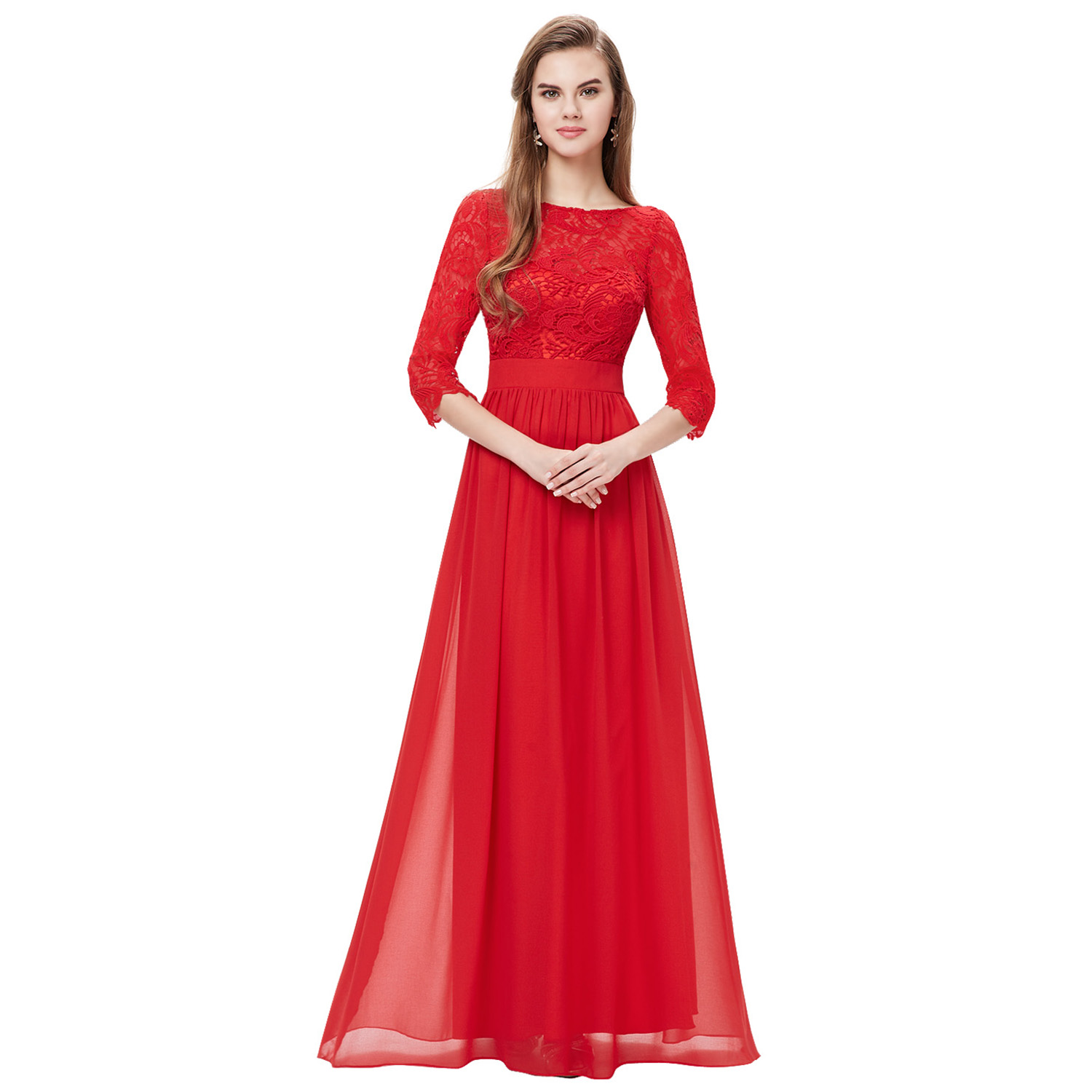 Womens 34 sleeves lace bridesmaid dresses evening prom gown 08412 womens 3 4 sleeves lace bridesmaid dresses evening ombrellifo Image collections