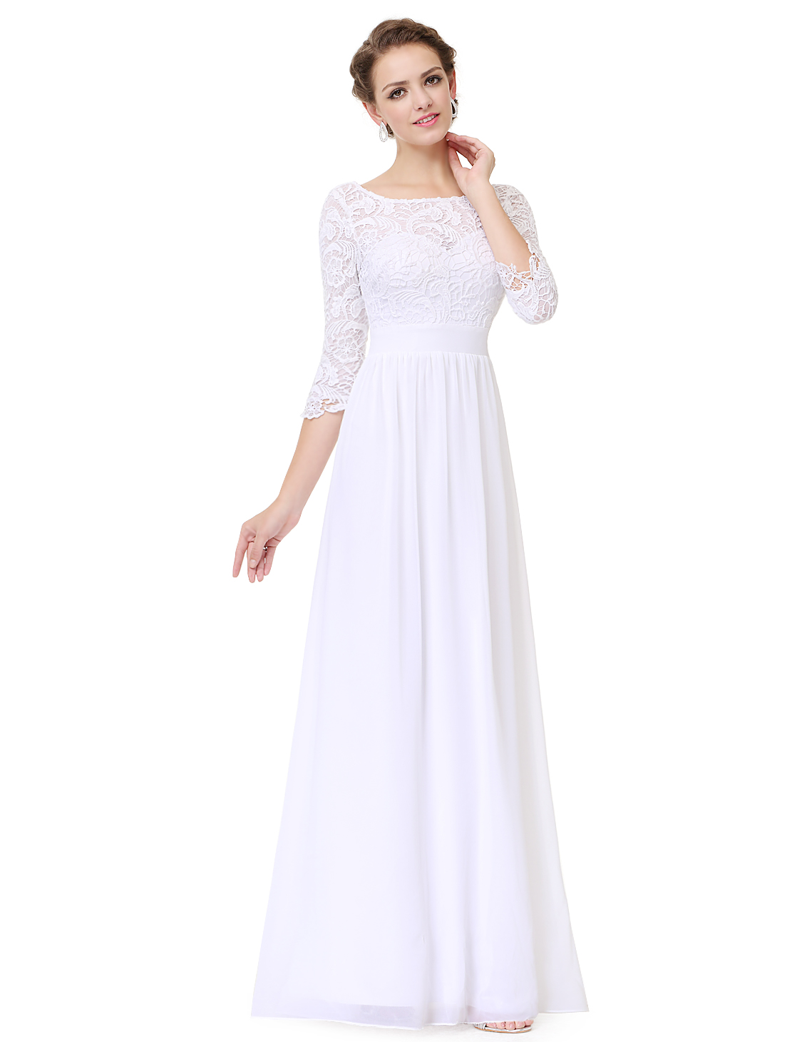 Womens 34 sleeves lace bridesmaid dresses evening prom gown 08412 womens 3 4 sleeves lace bridesmaid dresses evening ombrellifo Gallery