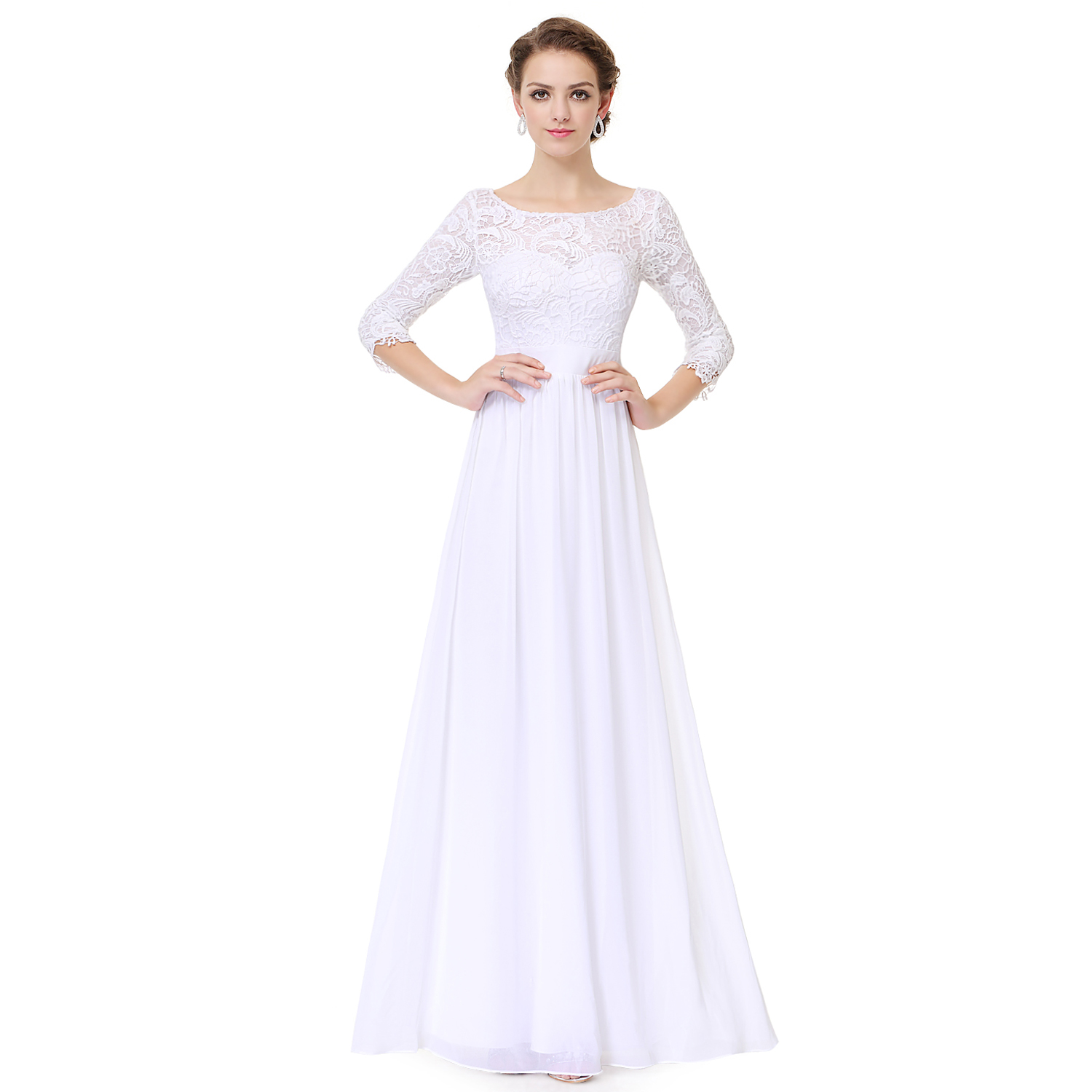 Womens 3/4 Sleeves Lace Bridesmaid Dresses Evening Prom