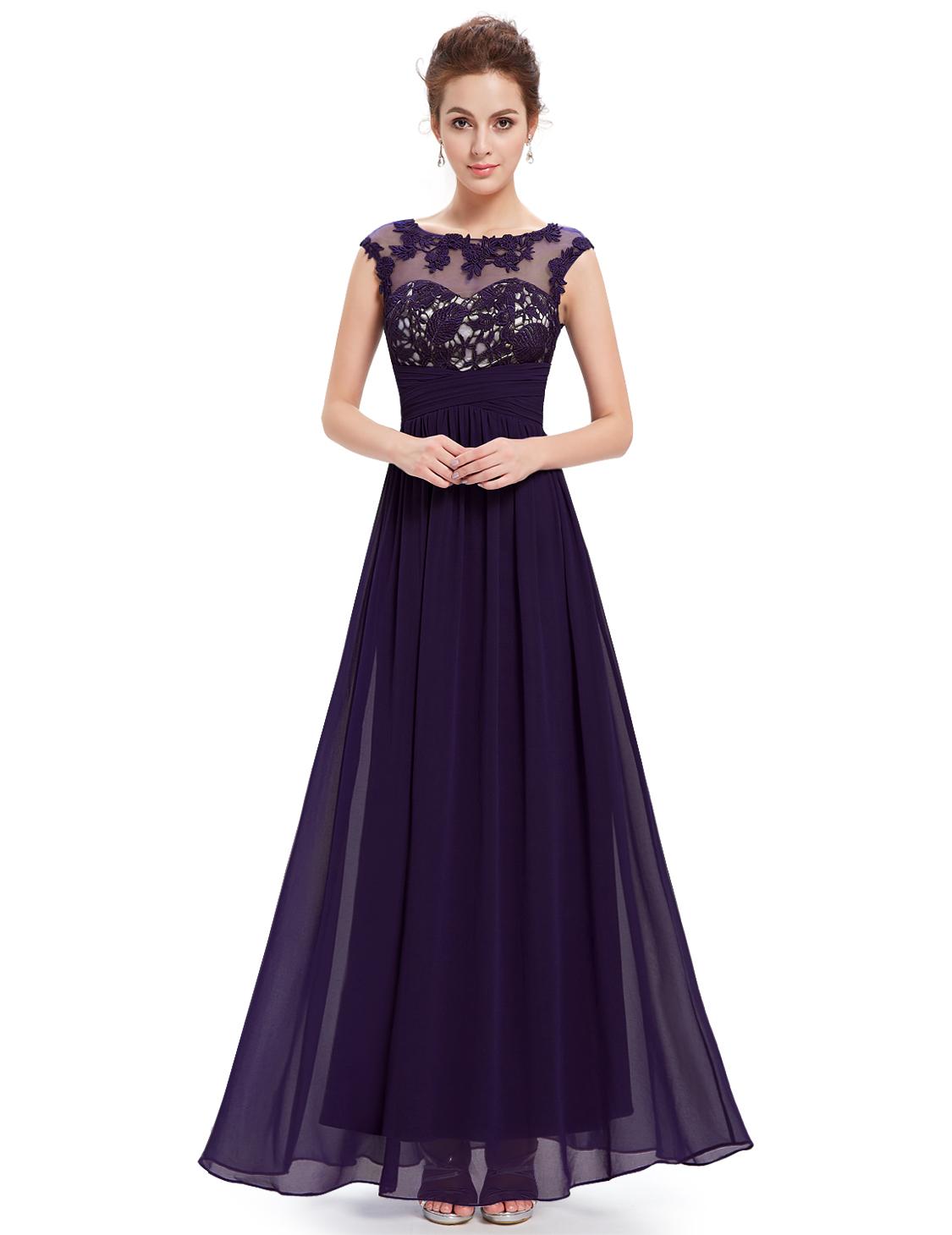 UK Applique Elegant Long Bridesmaid Party Dress Cocktail ...