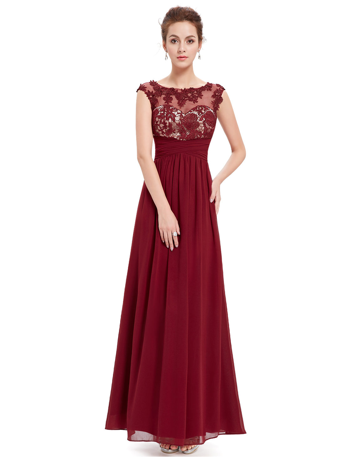 UK Applique Elegant Long Bridesmaid Party Dress Cocktail ...