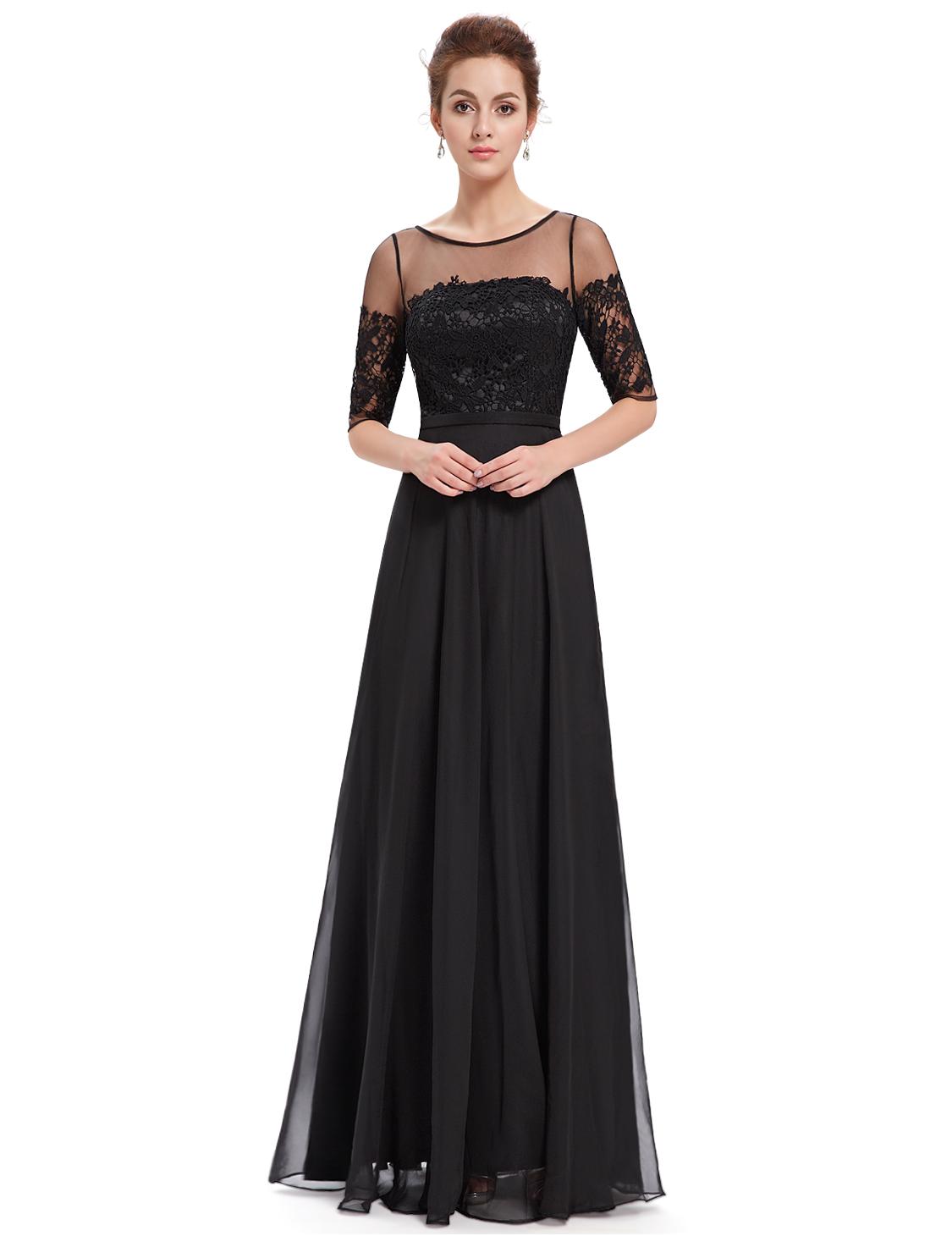 Ever-Pretty Long Chiffon Half Sleeve Evening Dress ...