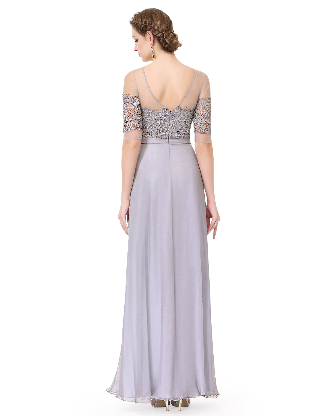 Long half sleeve bridesmaid wedding dress cocktail prom for Half sleeve wedding dress