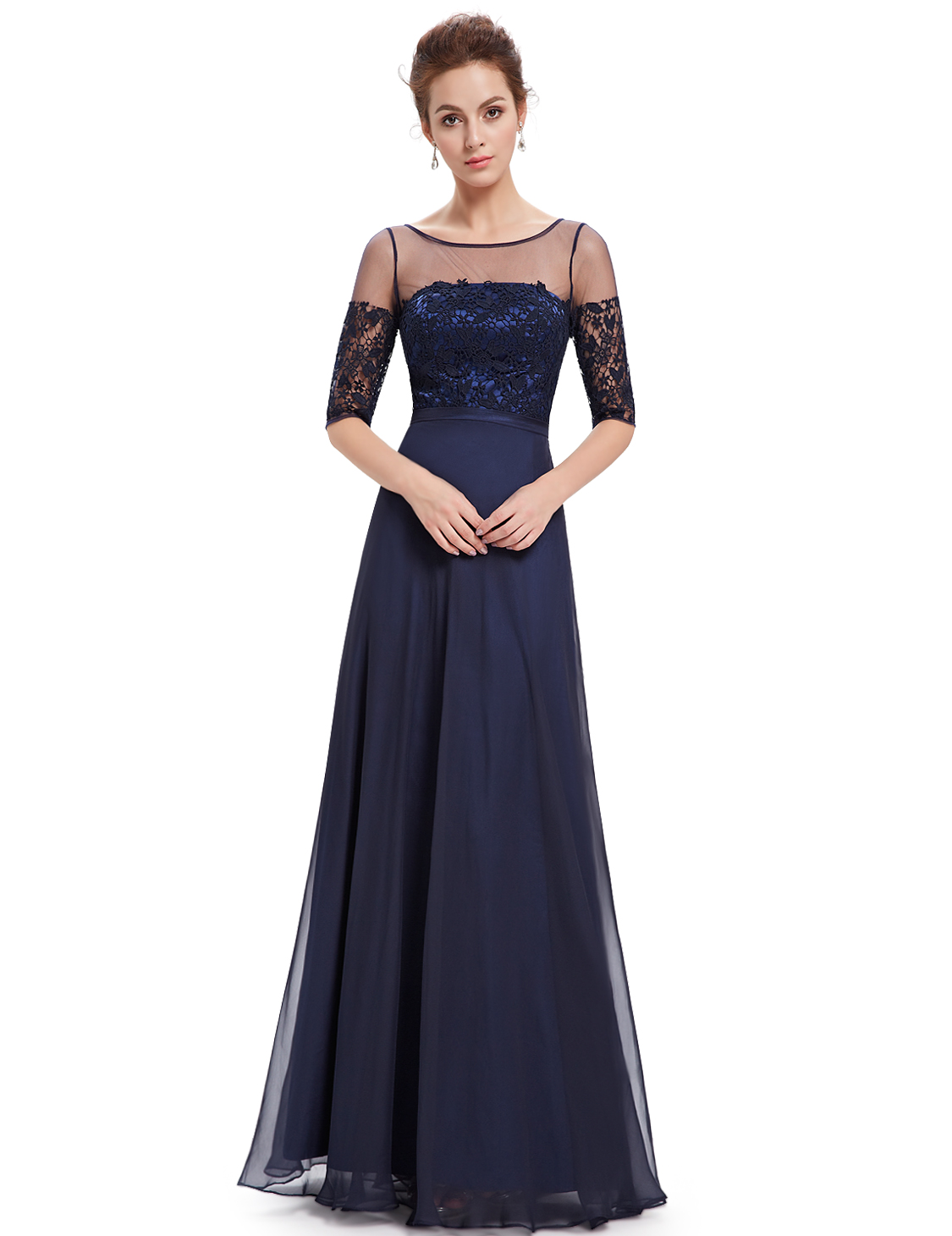 Ever Pretty Long Chiffon Half Sleeve Evening Dress