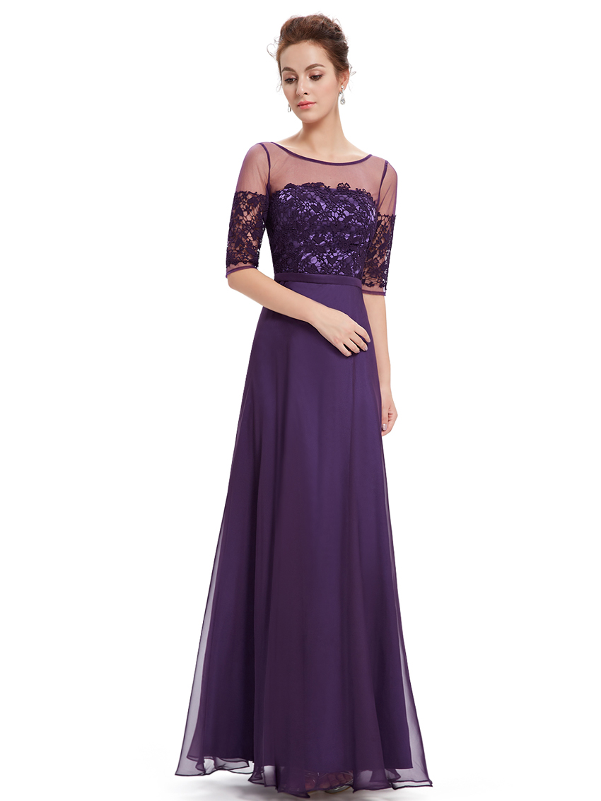 Ever pretty long chiffon half sleeve evening dress for Evening gown as wedding dress
