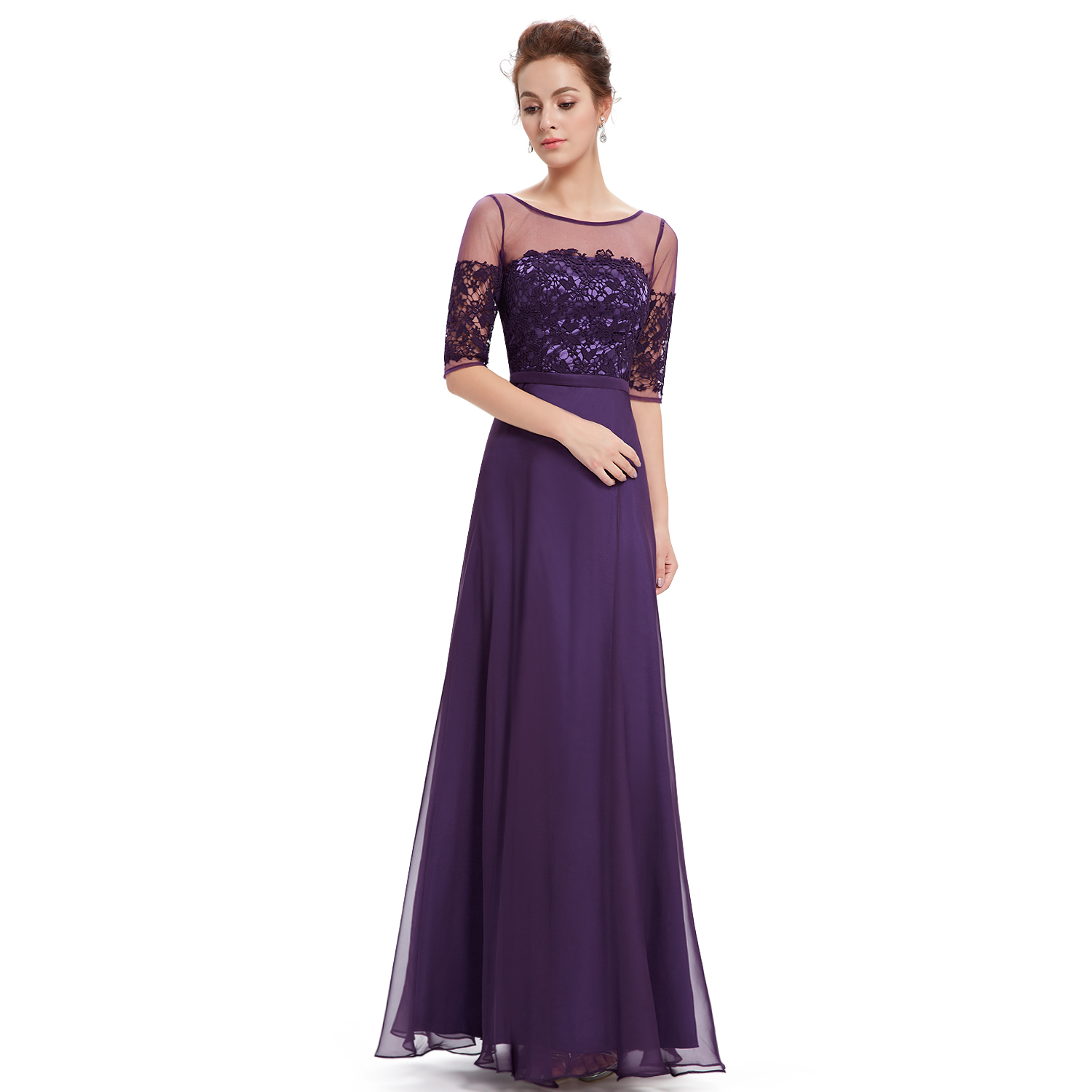 Womens short sleeve bridesmaid dresses formal evening gown for Short formal wedding dresses