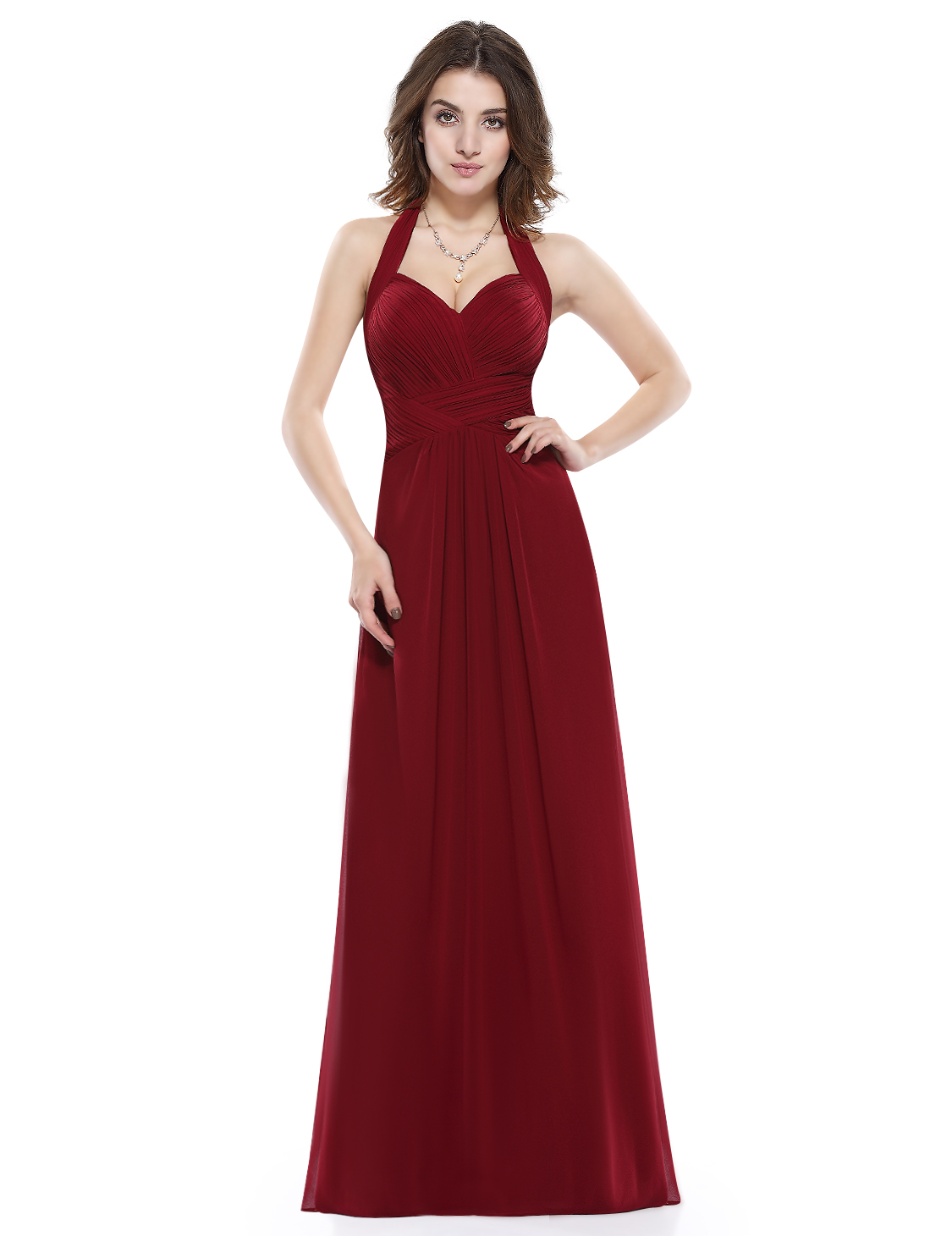 Ever Pretty Halter Bridesmaid Dress Long Chiffon Formal Evening Prom