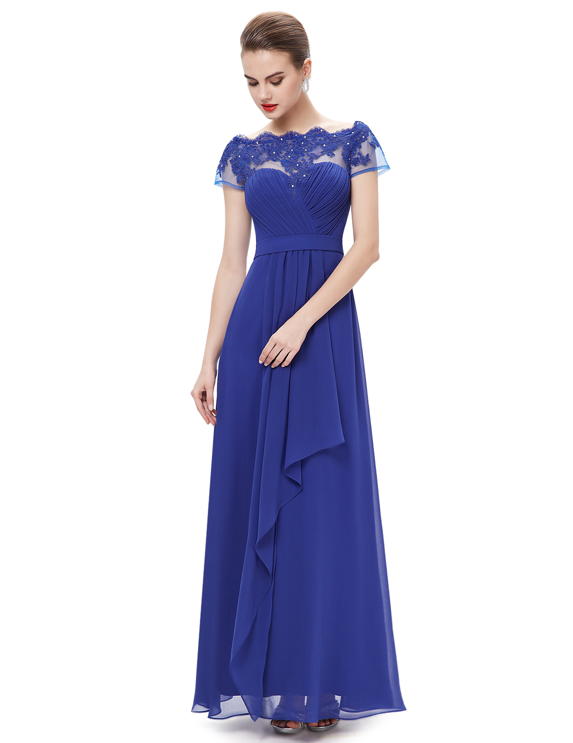 Women Long Lace Formal Evening Dress Cocktail Ball Gown Party Dress ...