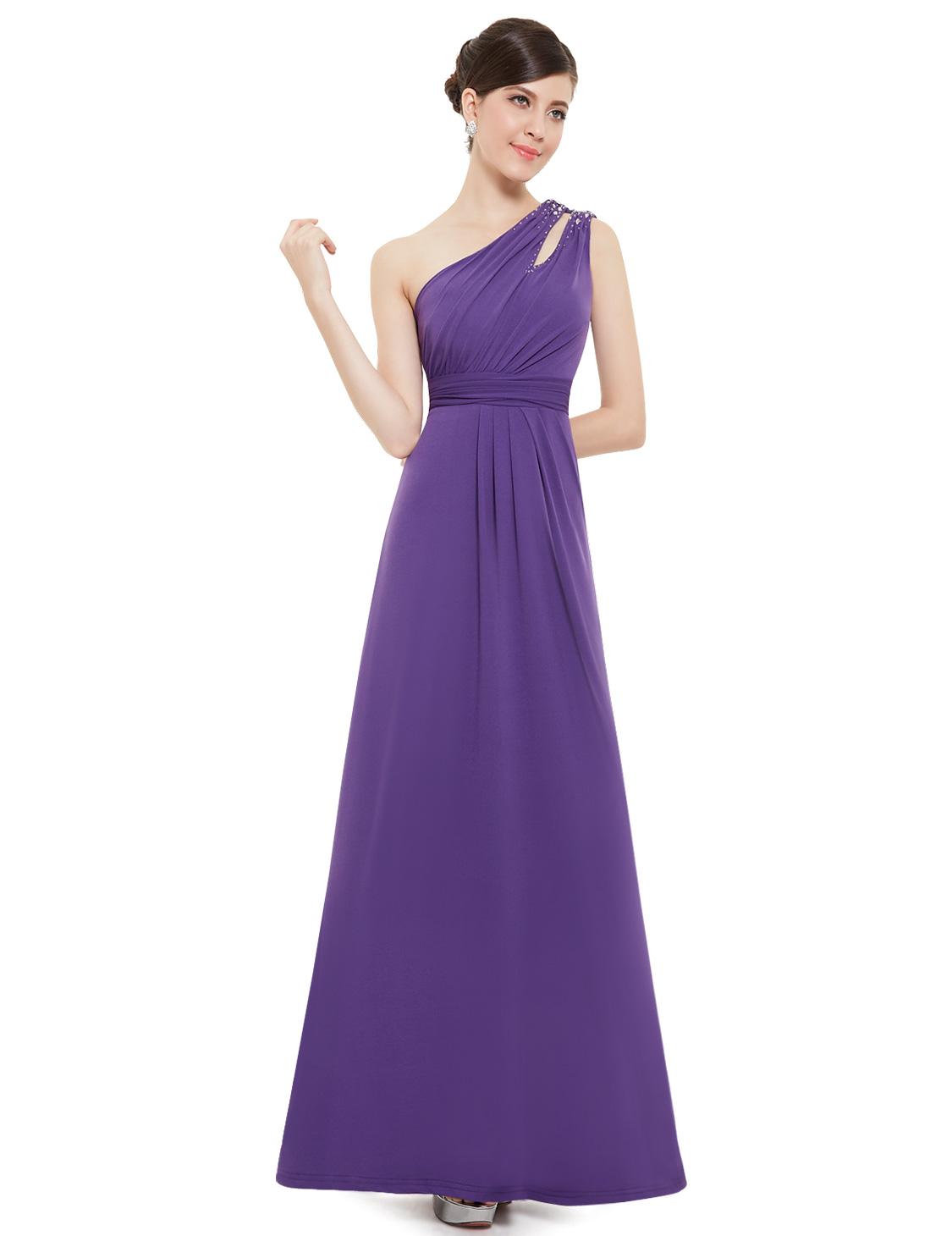 Ever Pretty y e Shoulder Purple Long Bridesmaid