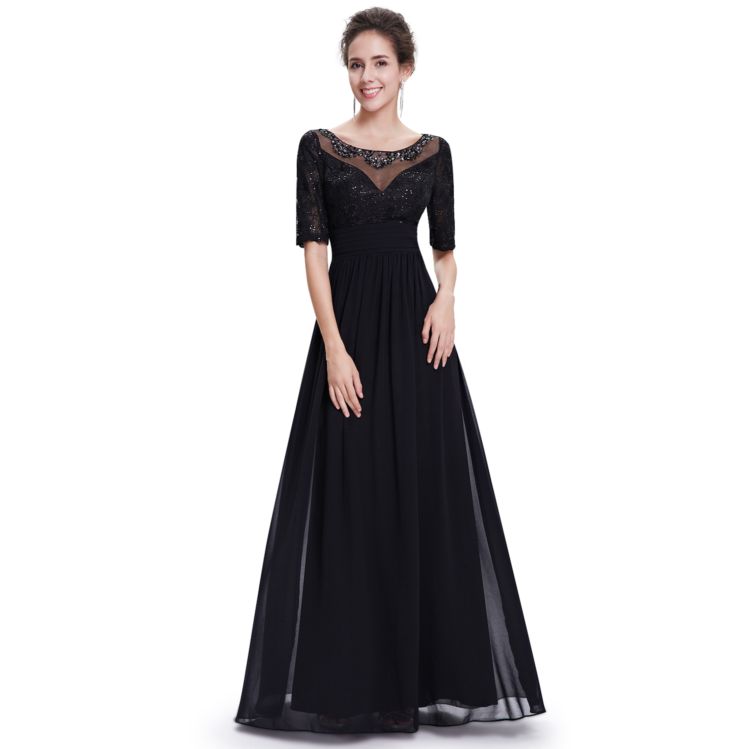 Womens Boat Neck Evening Dresses Black Long Homecoming Gown 08655 ...