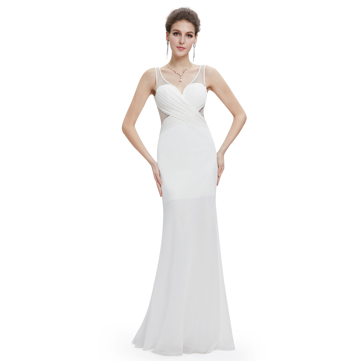 Ever Pretty Sapphire Blue Lace Sleeveless Long Evening