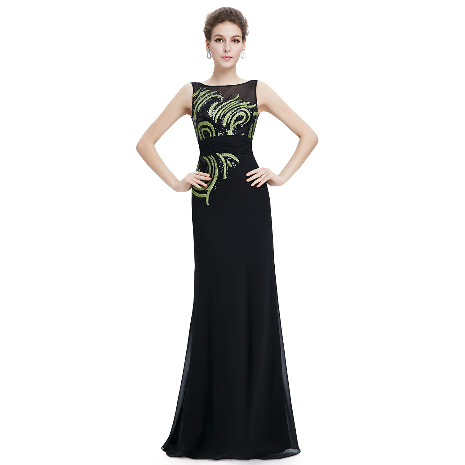 Black Round Neck Long A line Evening Formal Ball Gowns