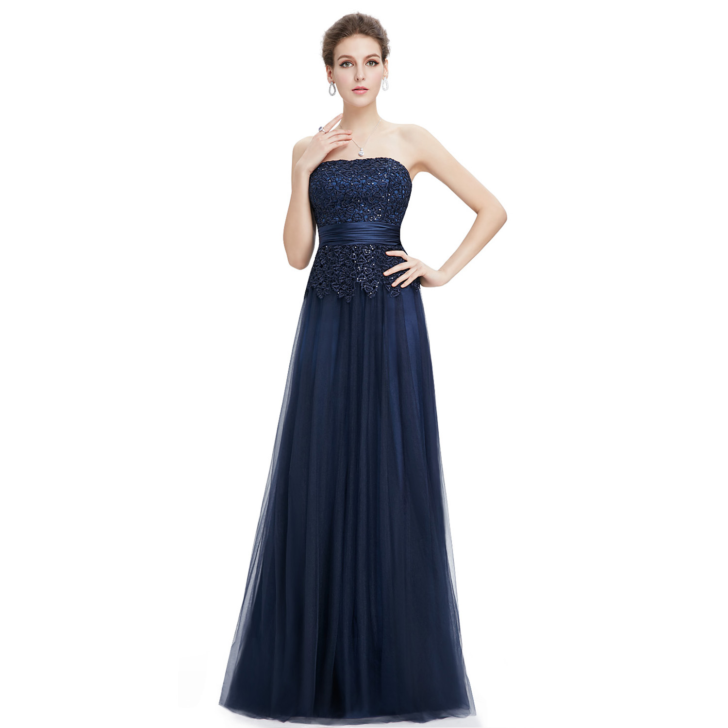 Women Navy Blue Strapless Long Party Evening Formal Prom ...