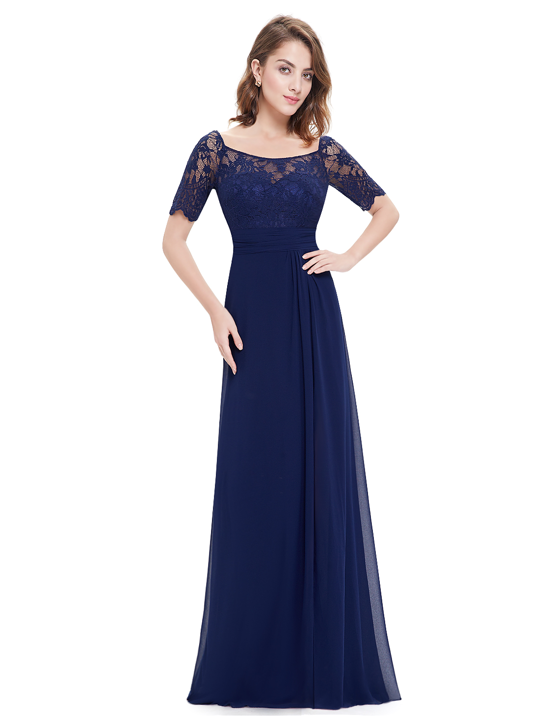 256070ee2da1 Ever-pretty Long Short Lace Sleeve Navy Blue Formal Evening Party ...